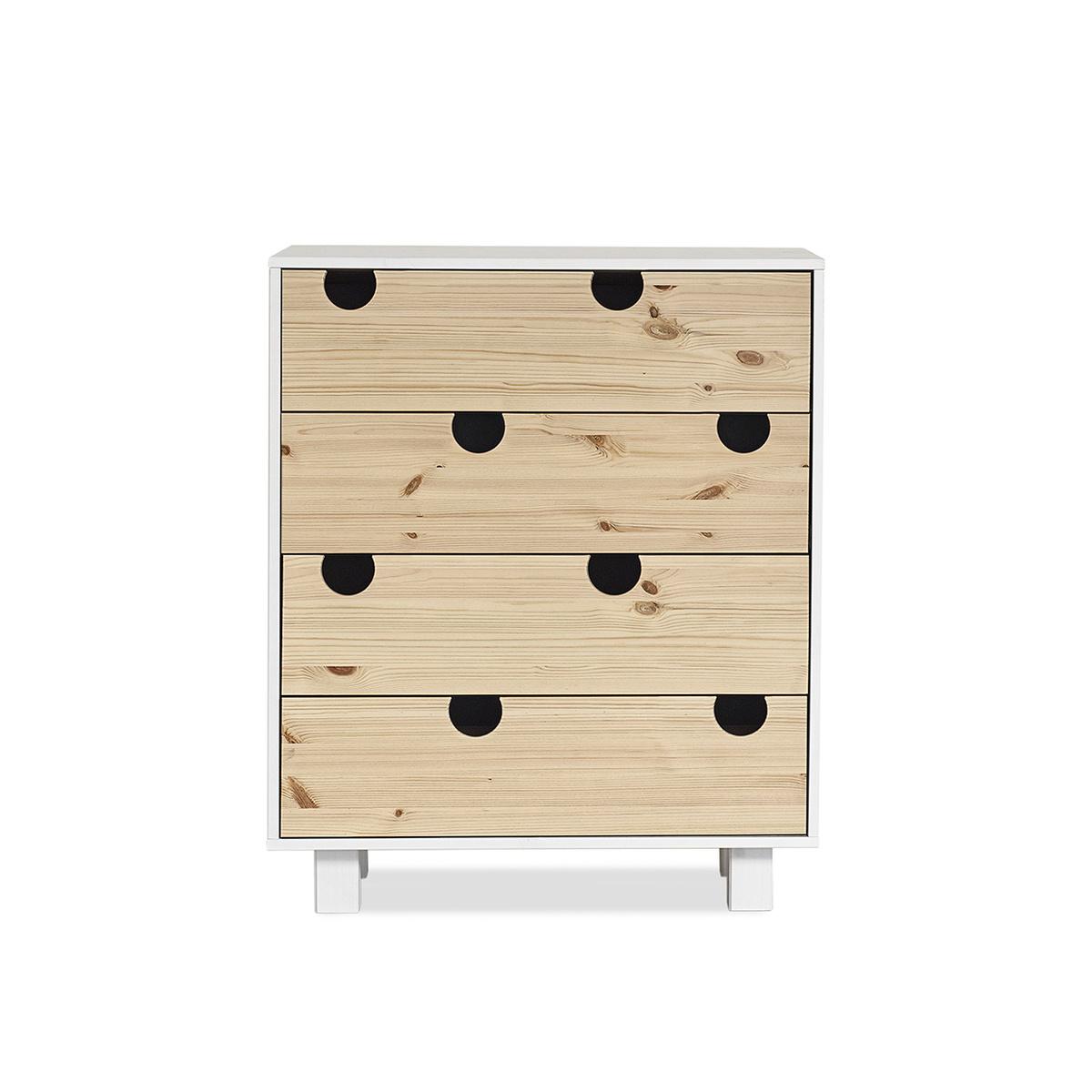 Cabinet cu 4 sertare House White/Nature, l40xL75xh90 cm title=Cabinet cu 4 sertare House White/Nature, l40xL75xh90 cm