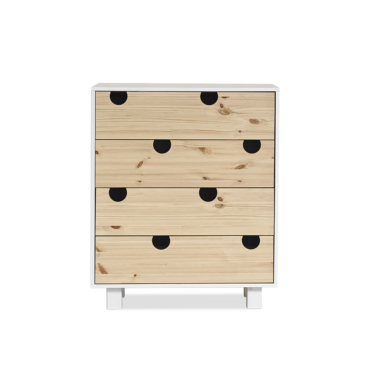 Cabinet din lemn de pin cu 4 sertare House White / Nature l40xL75xh90 cm