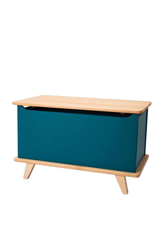 Cutie depozitare jucarii din lemn de fag si MDF Zoe Blue l70xA36.5xH34
