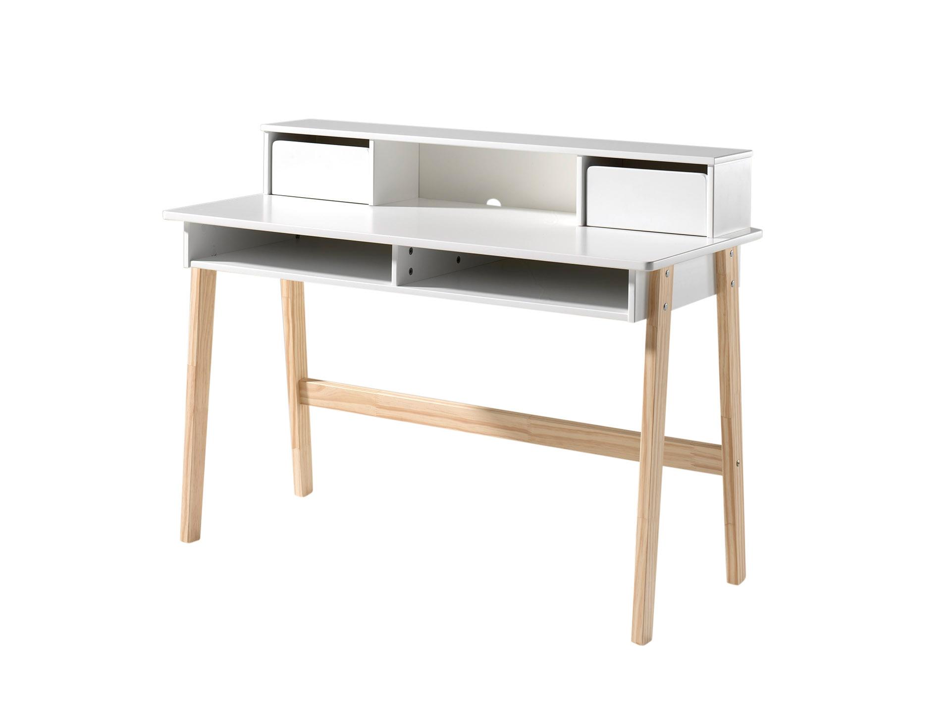 Masa de birou din lemn de pin si MDF Kiddy WhiteL110xl60xh90 cm
