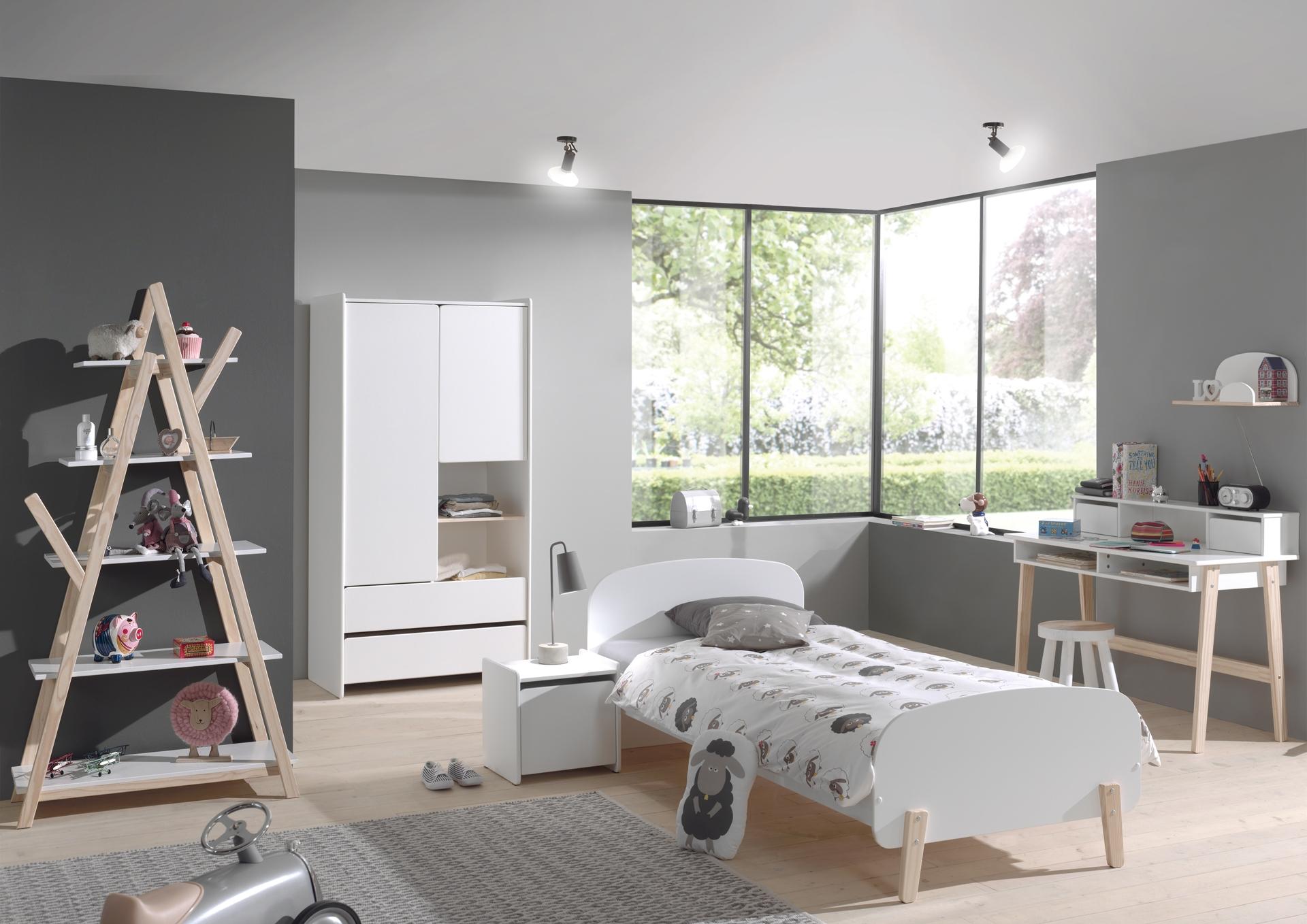 Set Mobila dormitor din lemn de pin si MDF, pentru copii 6 piese Kiddy Alb, 200 x 90 cm