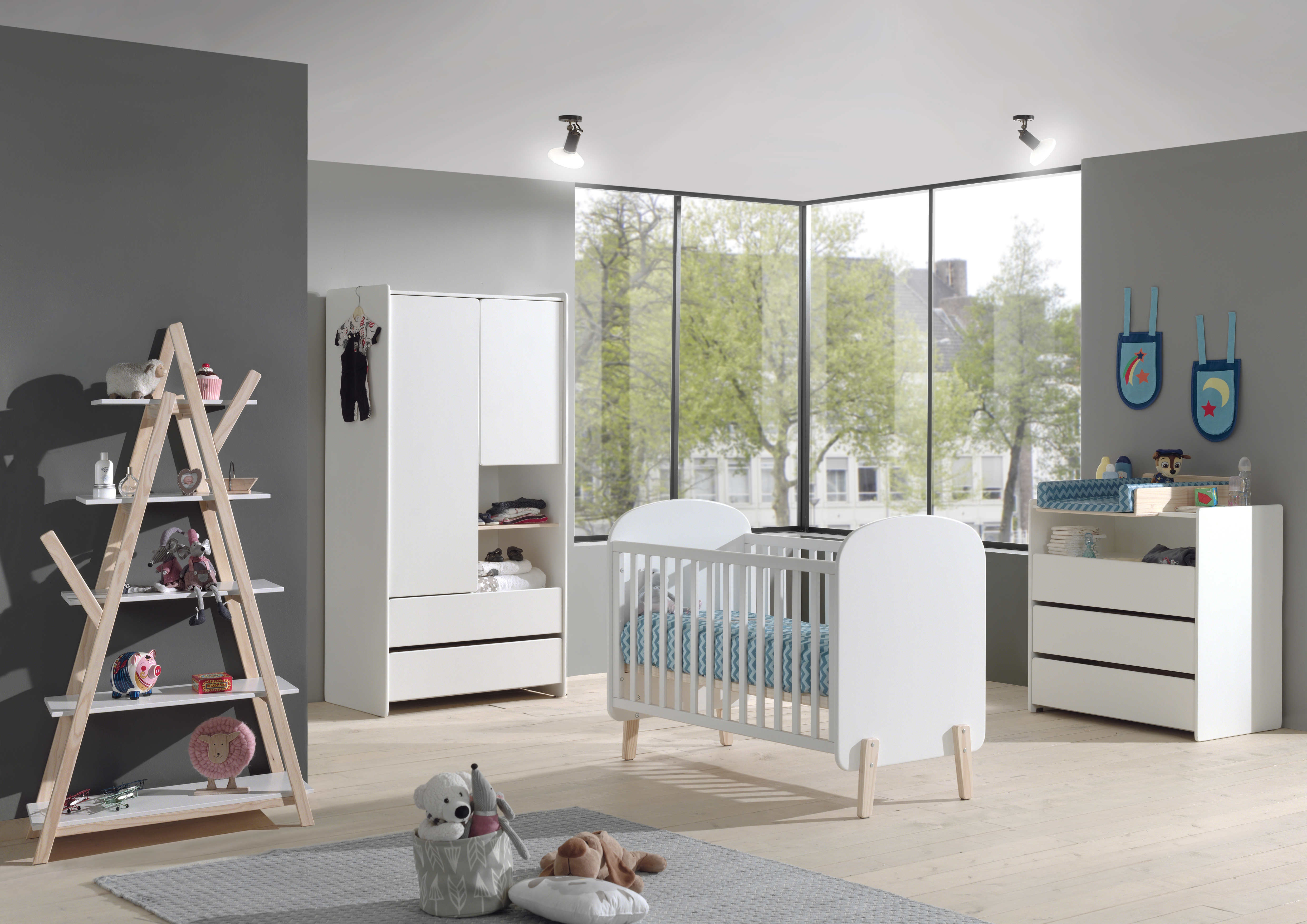 Set Mobila din lemn de pin si MDF pentru camera bebe 5 piese Kiddy Alb, 120 x 60 cm imagine