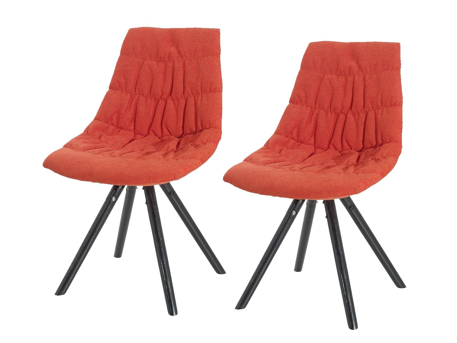 Set 2 scaune tapitate cu stofa cu picioare de lemn Klass Red l47xA54xH80 cm