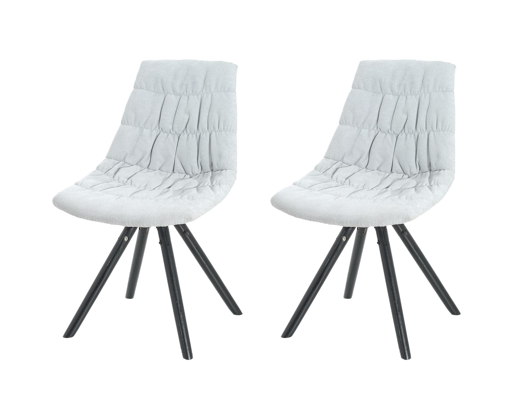 Set 2 scaune tapitate cu stofa cu picioare de lemn Klass White l47xA54xH80 cm