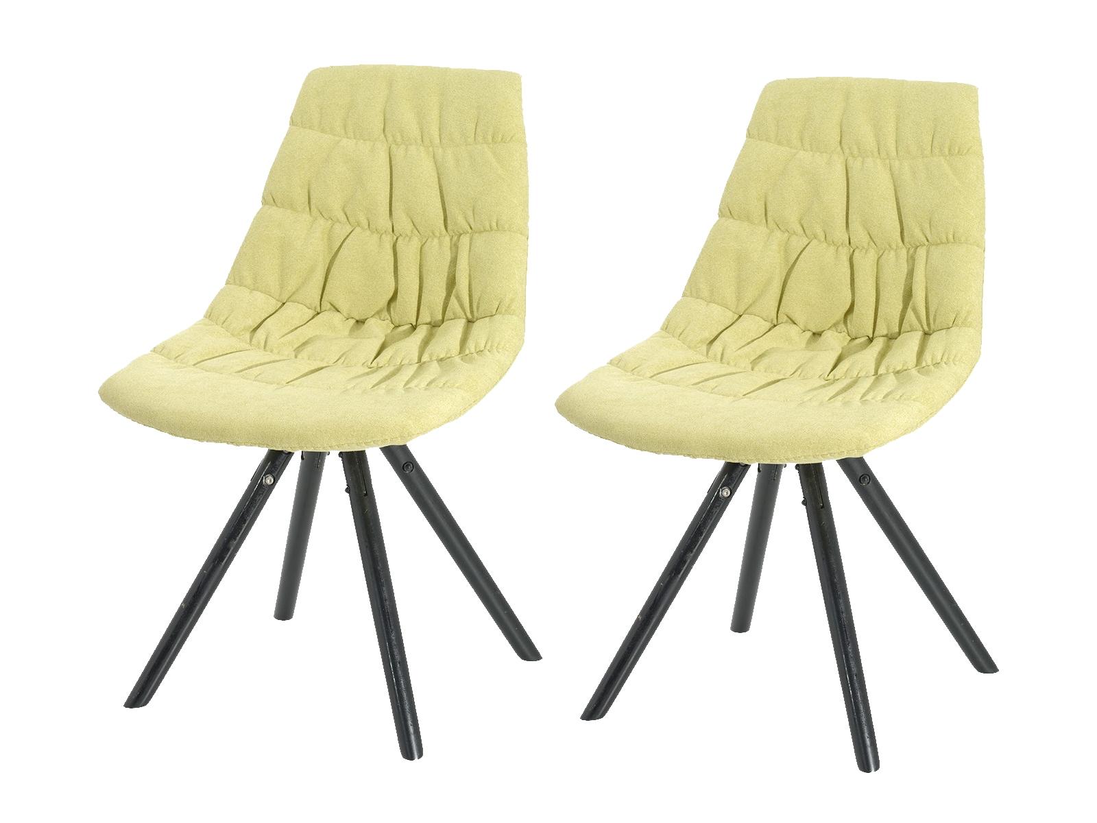 Set 2 scaune tapitate cu stofa cu picioare de lemn Klass Yellow l47xA54xH80 cm