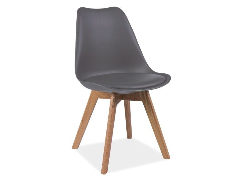 Scaun tapitat cu piele ecologica, cu picioare din lemn Kris Grey / Oak, l49xA41xH83 cm