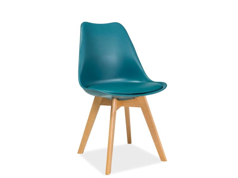Scaun din plastic cu sezut tapitat cu piele ecologica, cu picioare din lemn Kris Teal / Beech, l49xA41xH83 cm imagine