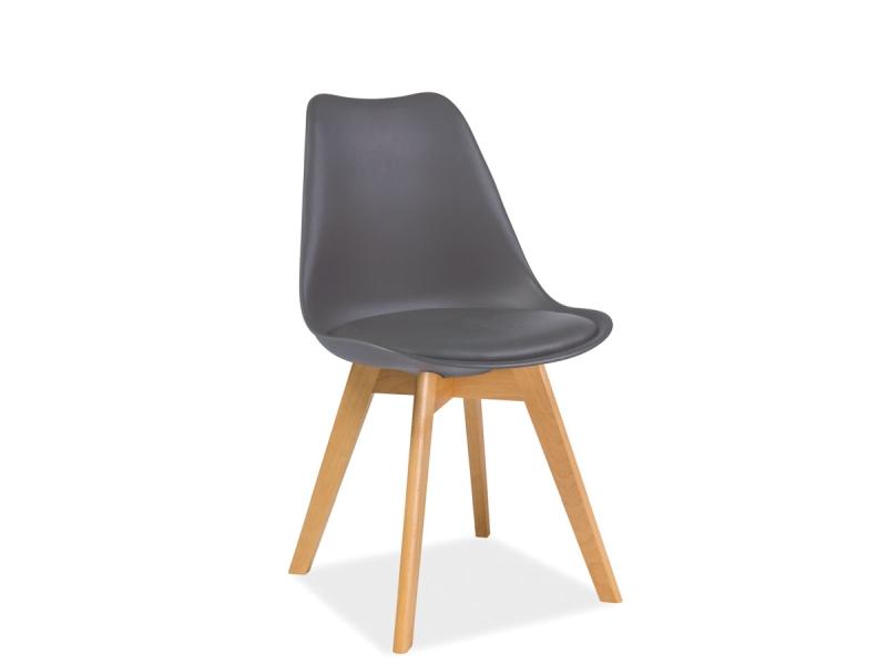 Scaun din plastic cu sezut tapitat cu piele ecologica, cu picioare din lemn Kris Grey / Beech, l49xA41xH83 cm