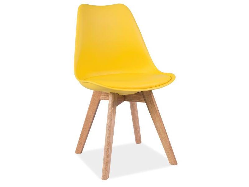 Scaun tapitat cu piele ecologica, cu picioare din lemn Kris Yellow / Oak, l49xA41xH83 cm imagine