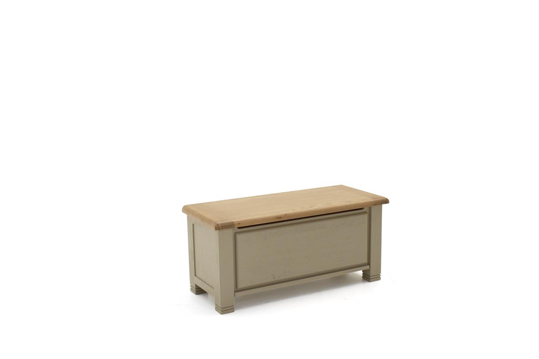 Lada de depozitare din lemn de stejar si furnir Logan Taupe l109xA45xH50 cm