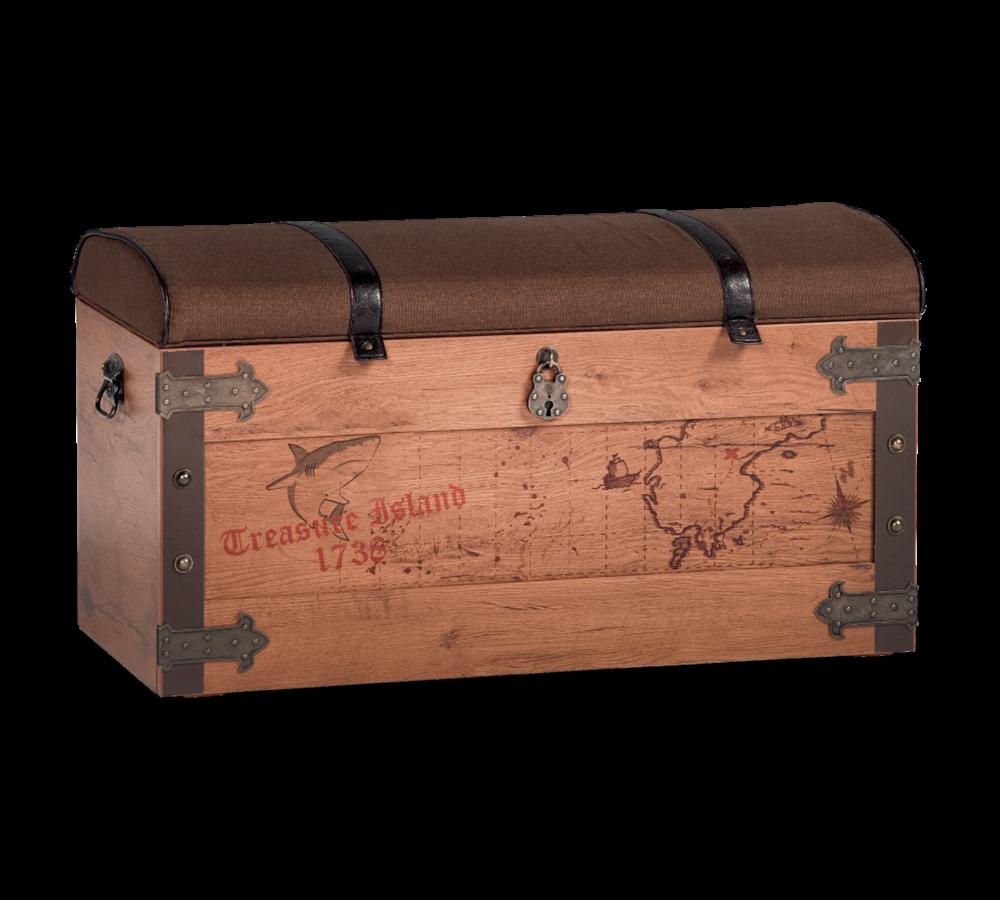 Lada de depozitare din pal si metal, tapitata cu stofa, pentru copii, Pirate Maro, l92xA50xH46 cm