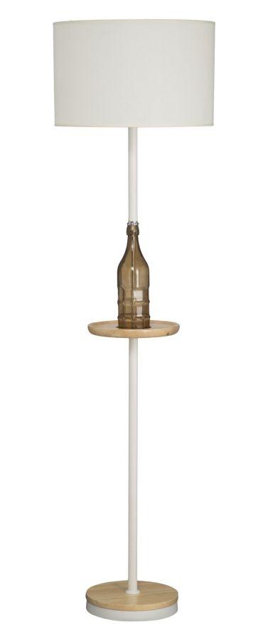 Lampadar din lemn si metal Bottle Alb