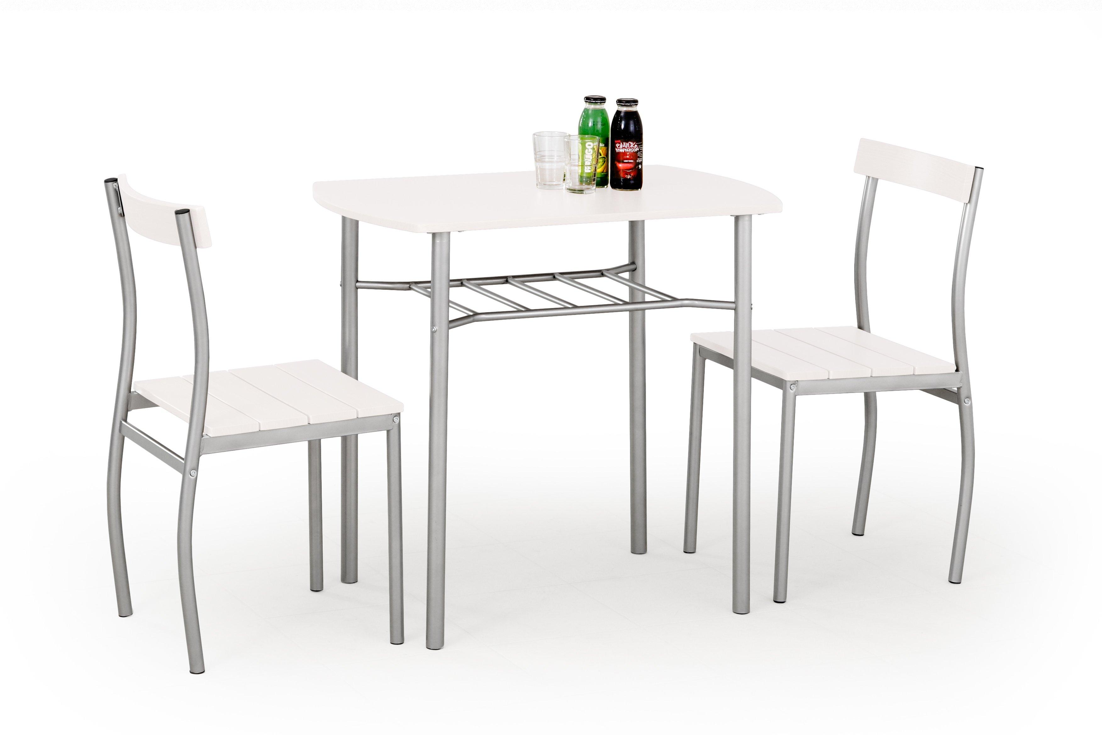 Set masa din MDF si metal + 2 scaune Lance White, L82xl50xH75 cm poza