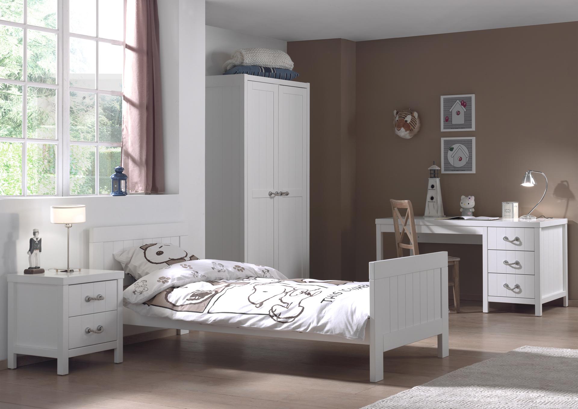 Set Mobila dormitor din lemn de pin si MDF, pentru copii 4 piese Lewis I Alb, 200 x 90 cm poza