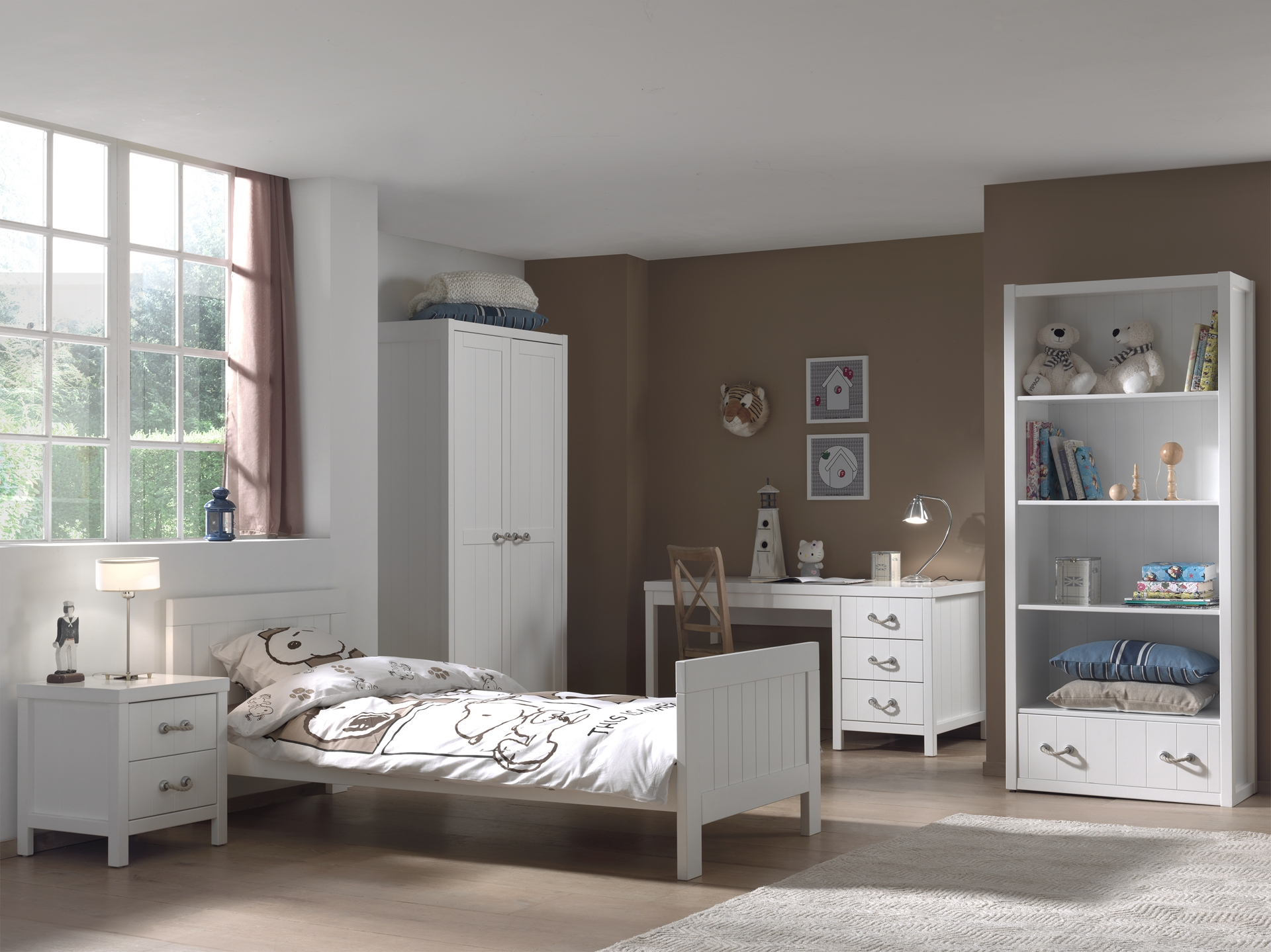 Set Mobila dormitor din lemn de pin si MDF, pentru copii 5 piese Lewis Alb, 200 x 90 cm somproduct.ro