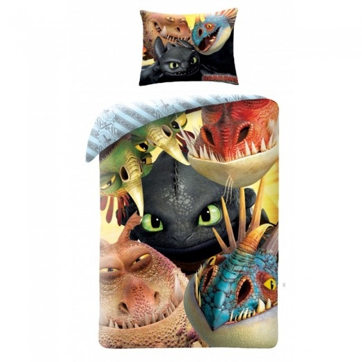 Lenjerie de pat copii Cotton How to train your Dragon HTTD-3004-200 x 140 cm