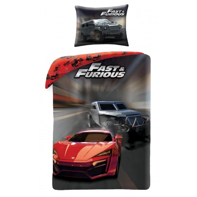 Lenjerie de pat copii Cotton Fast and Furious FF-7000BL