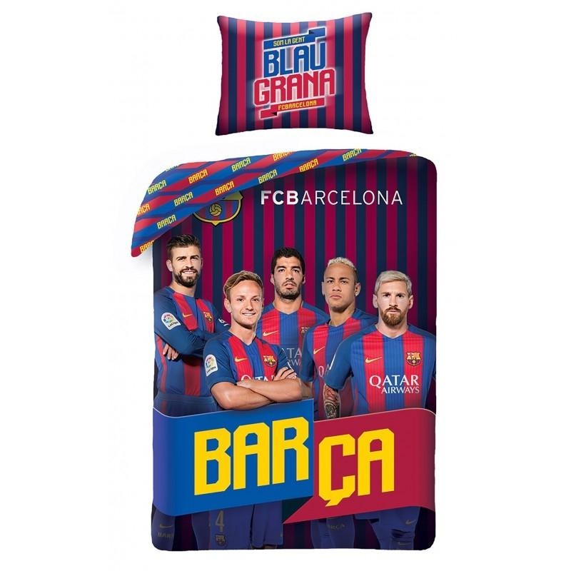 Lenjerie de pat copii Cotton FC Barcelona FCB-8017BL-200 x 160 cm