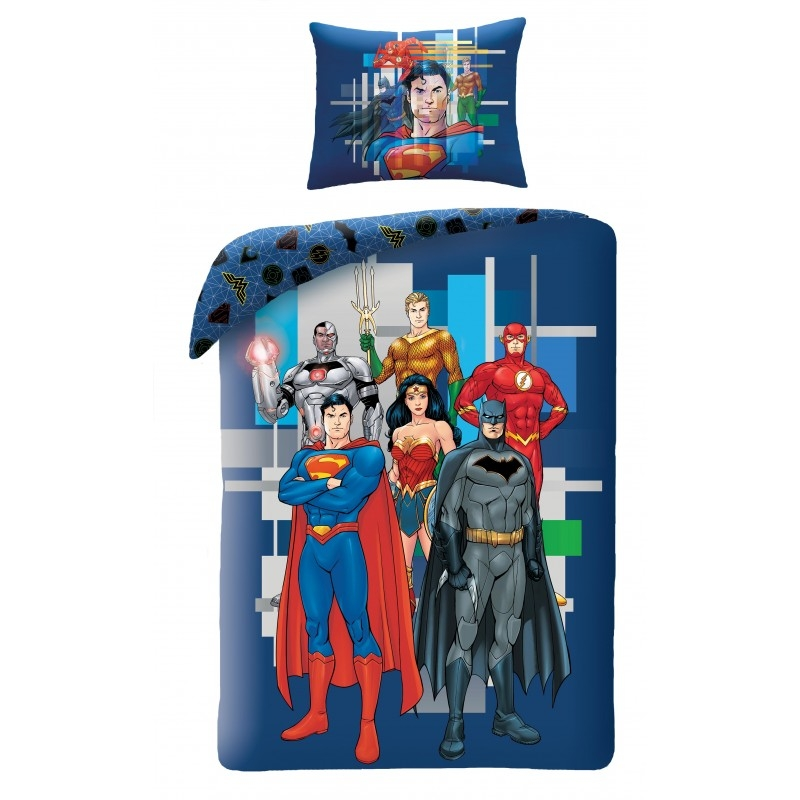 Lenjerie de pat copii Cotton Justice League JL-8102BL