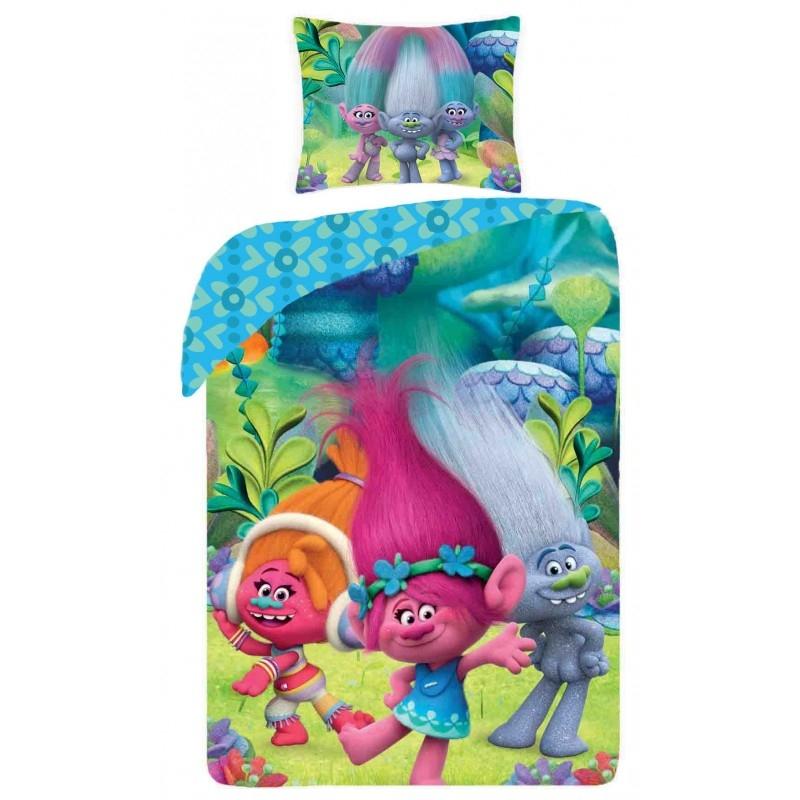 Lenjerie de pat copii Cotton Trolls TM-9009BL-200 x 160 cm