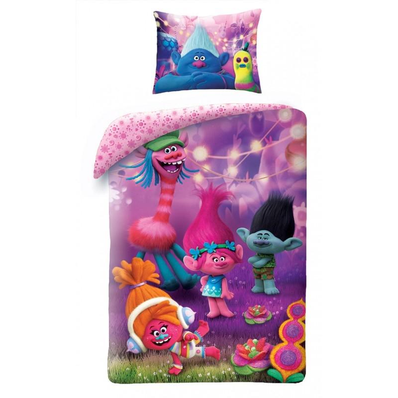 Lenjerie de pat copii Cotton Trolls TM-9018BL-200 x 140 cm