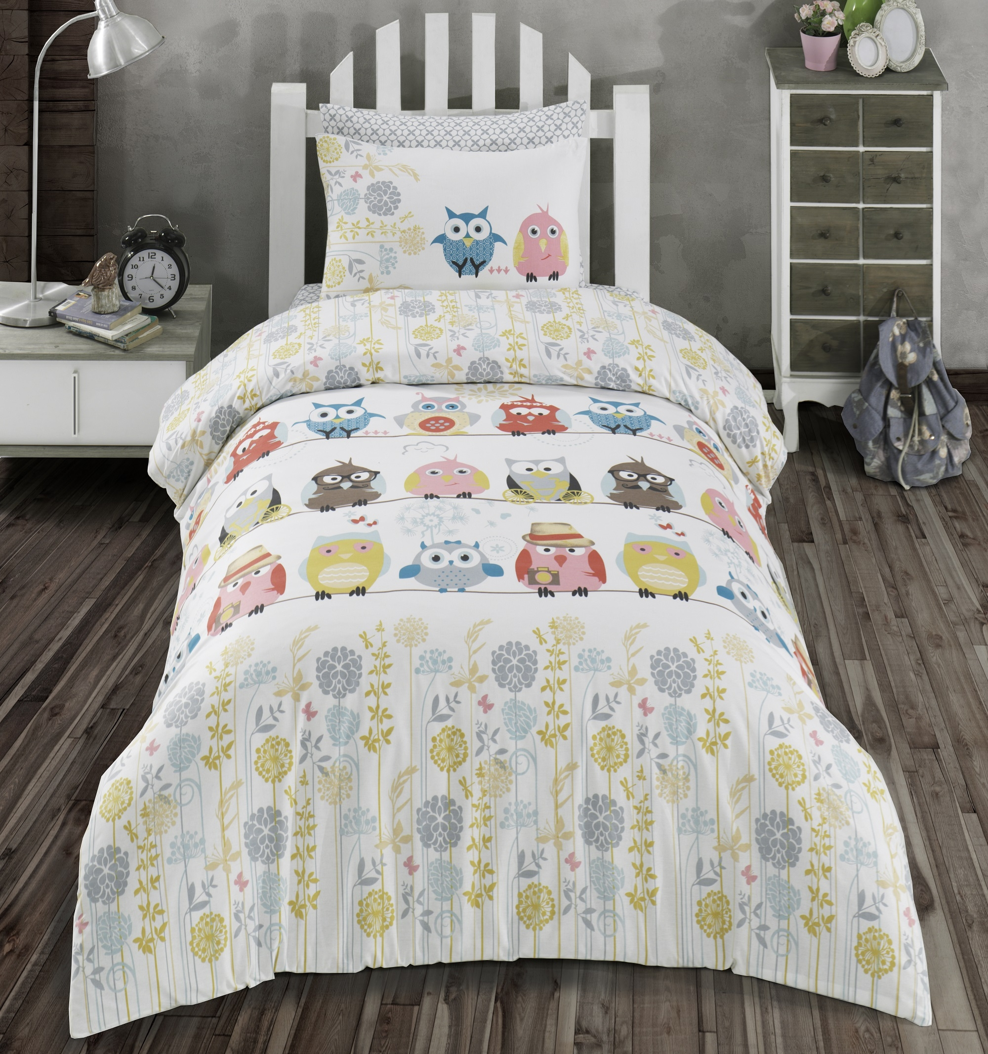 Lenjerie de pat copii Ranforce Owl V1 Multicolor-1 pers-140 x 200 cm