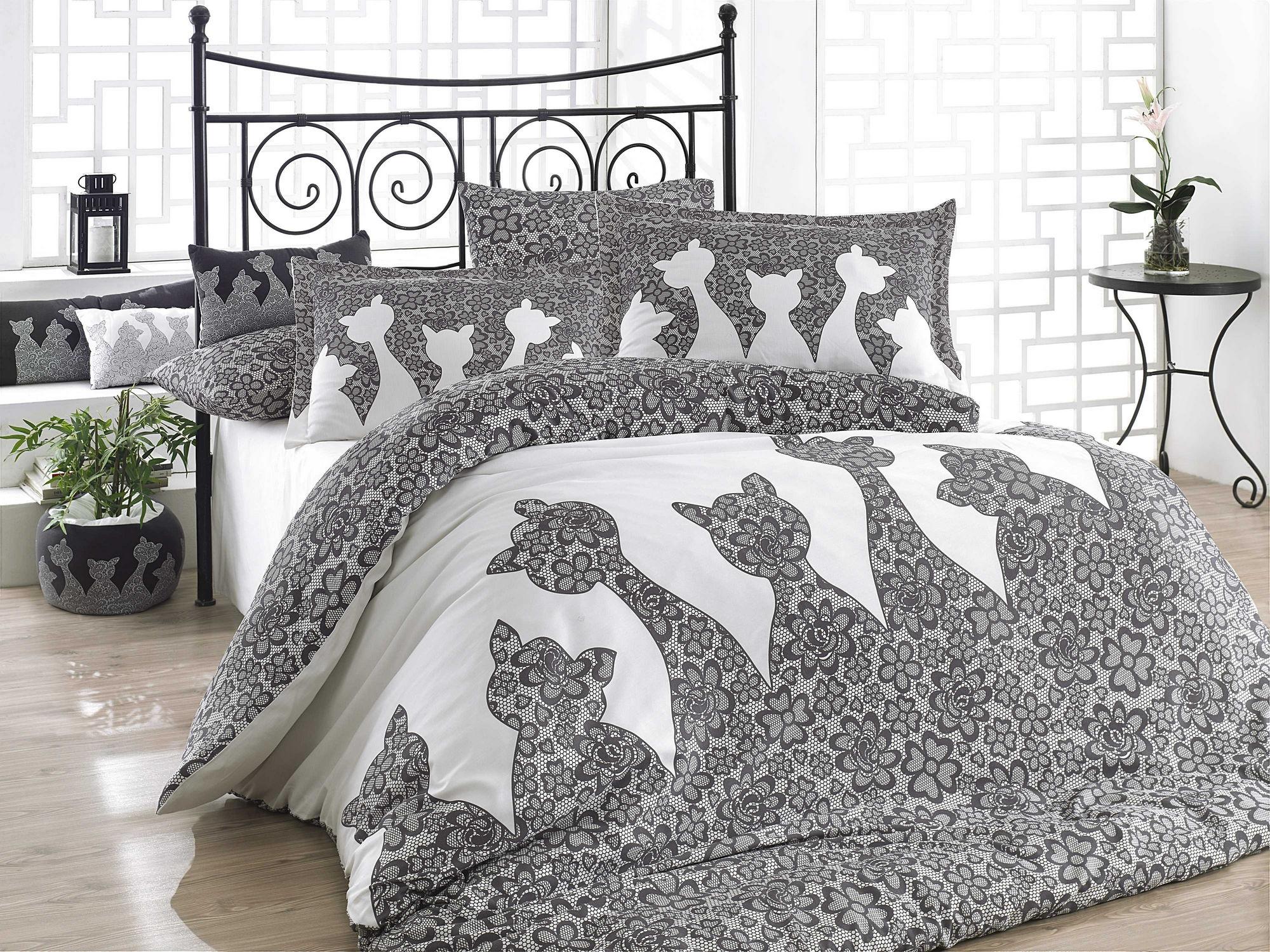 Lenjerie de pat din bumbac Jazz Negru / Alb, 200 x 220 cm imagine