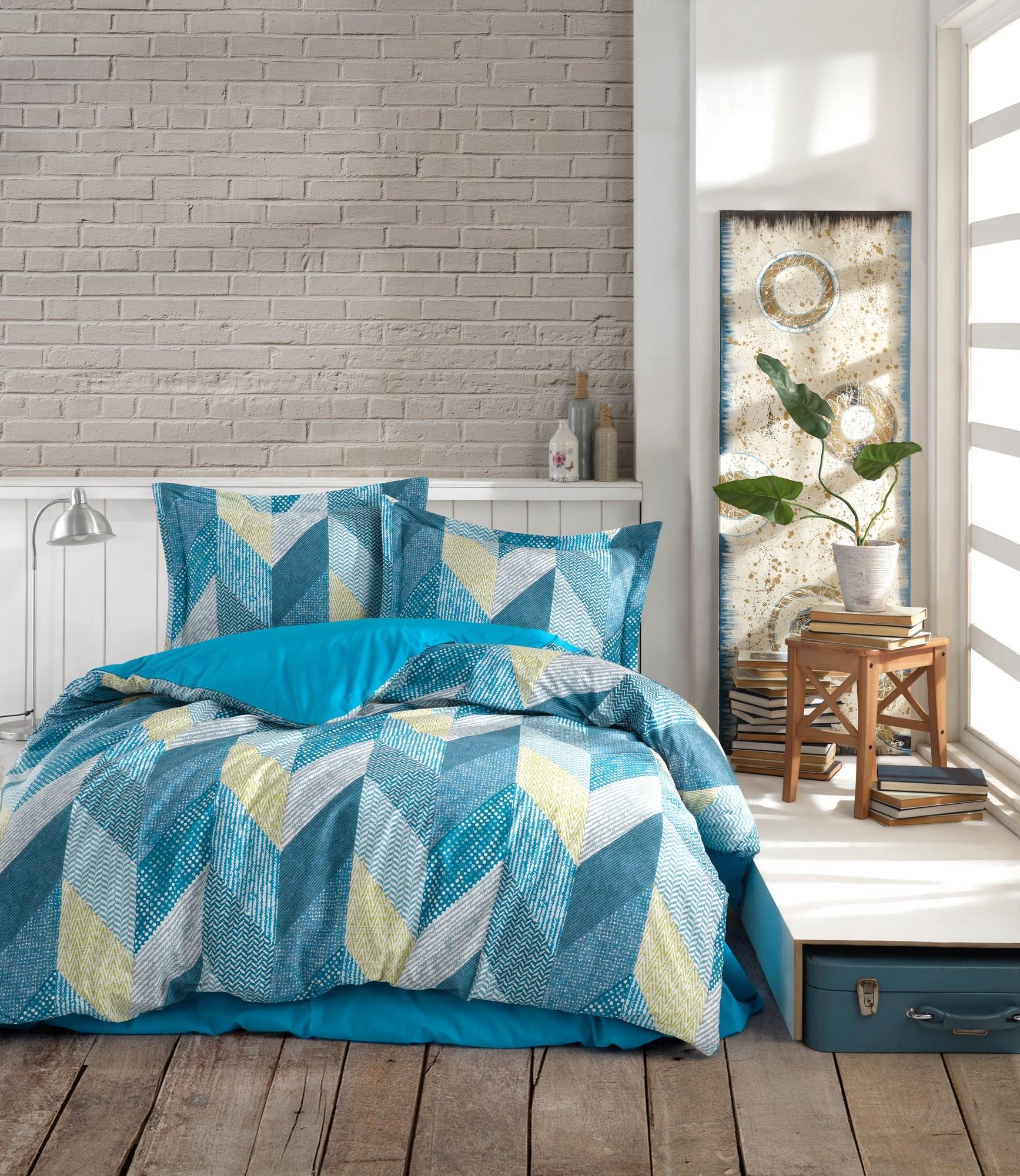 Lenjerie de pat din bumbac Ranforce, Anatolia Albastru / Alb, 200 x 220 cm imagine