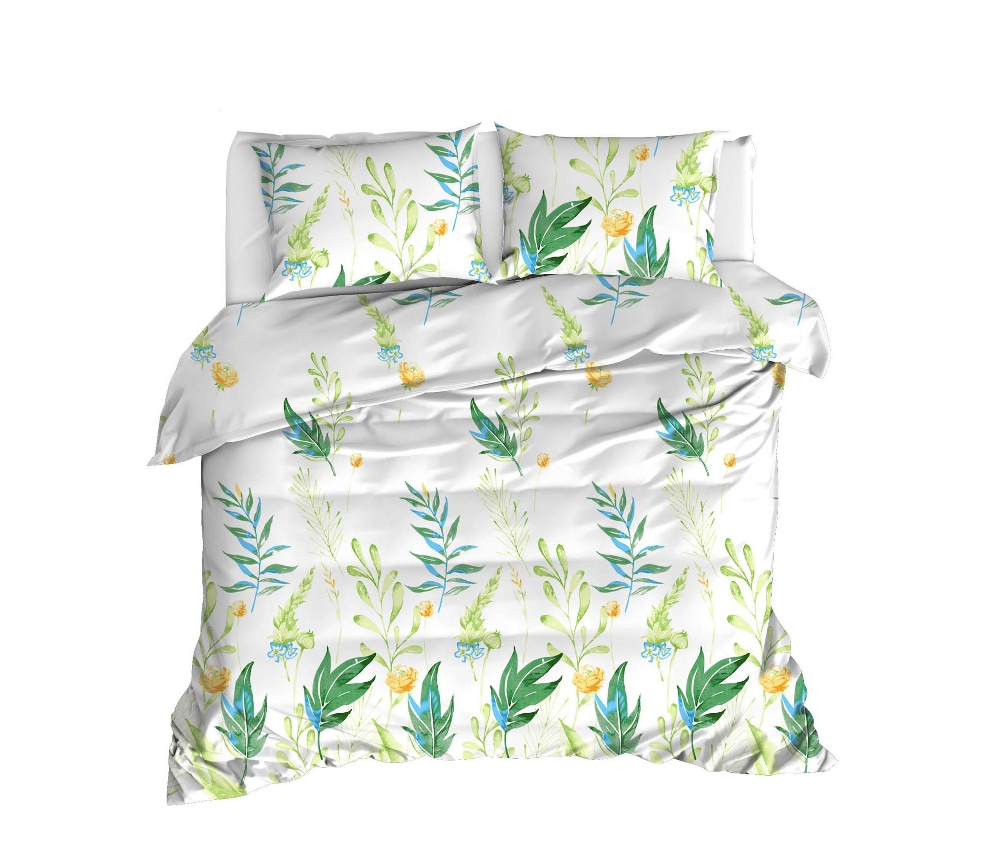 Lenjerie de pat din bumbac Ranforce Arta Alb / Verde, 200 x 220 cm somproduct.ro