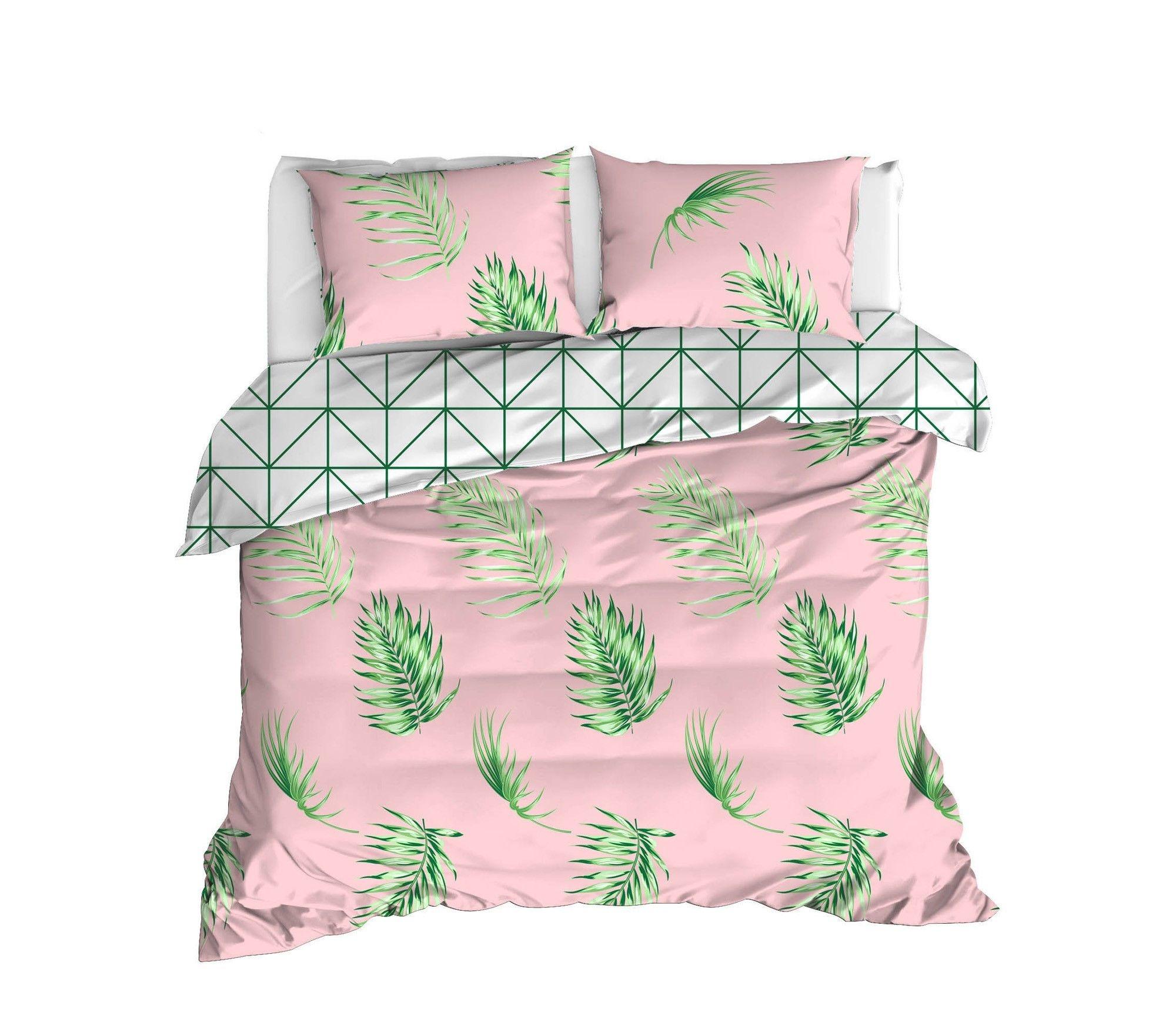 Lenjerie de pat din bumbac Ranforce, Barbara Roz / Verde, 200 x 220 cm imagine