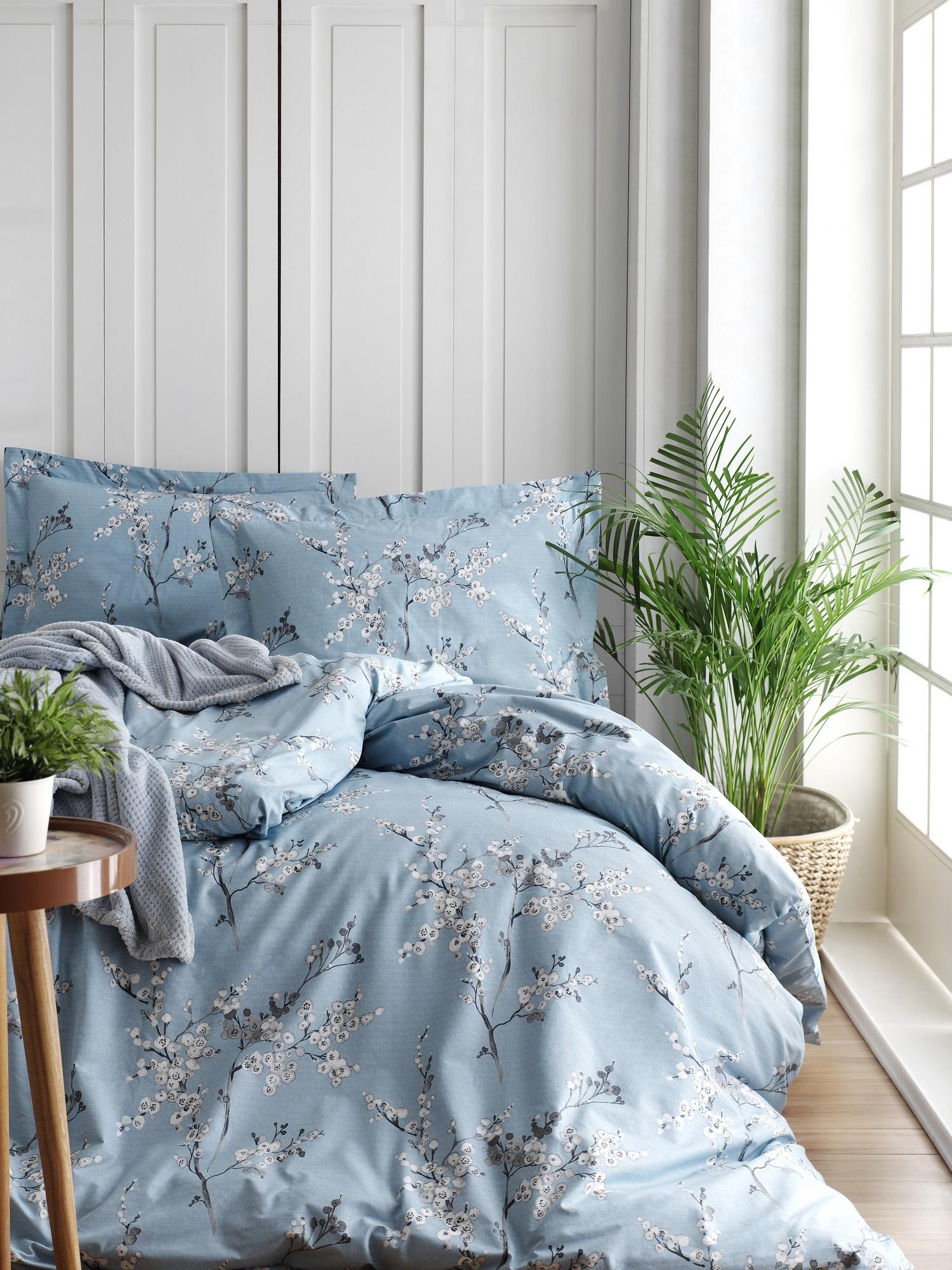 Lenjerie de pat din bumbac Ranforce, Chicory Albastru / Alb, 200 x 220 cm imagine