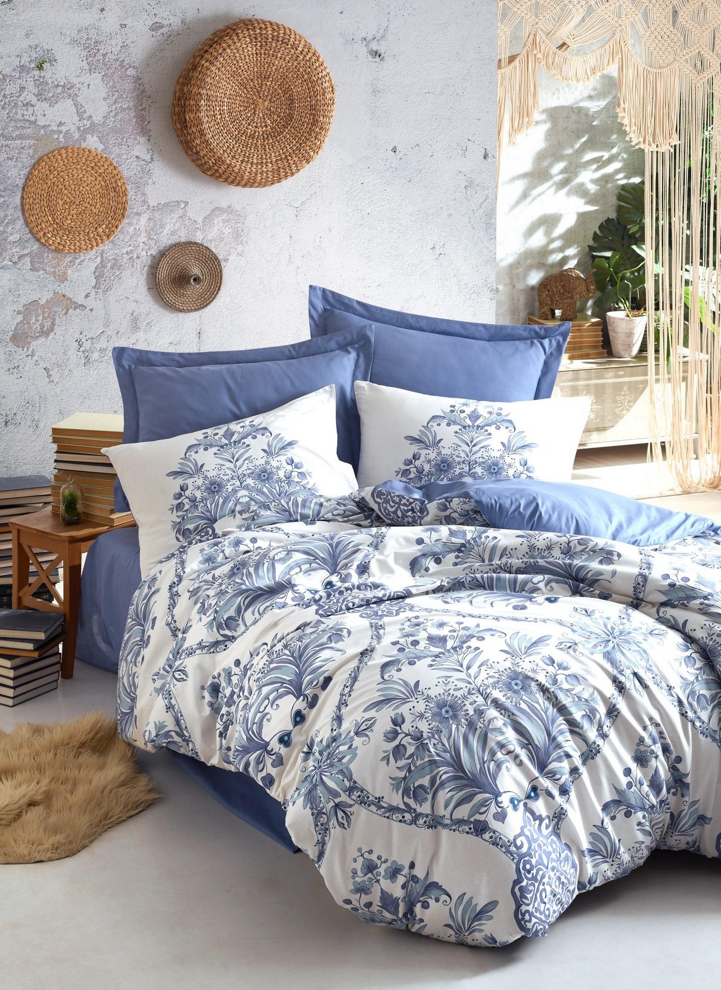 Lenjerie de pat din bumbac Ranforce, Egina Albastru / Alb, 200 x 220 cm imagine