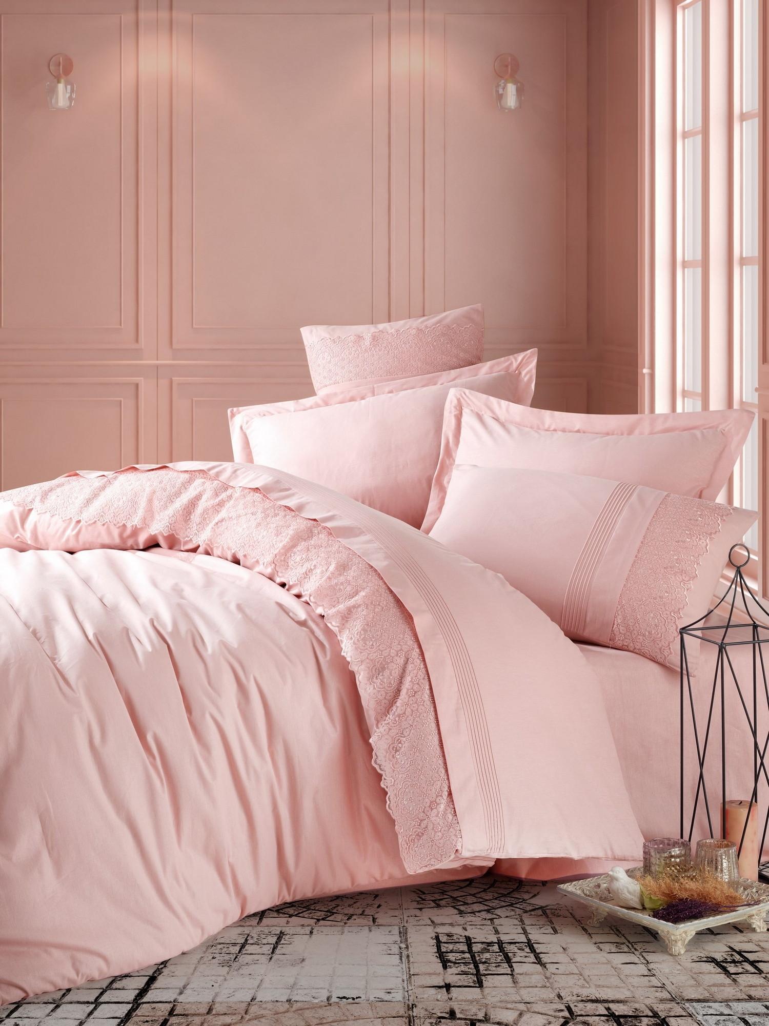 Lenjerie de pat din bumbac Ranforce Elba Roz, 200 x 220 cm imagine
