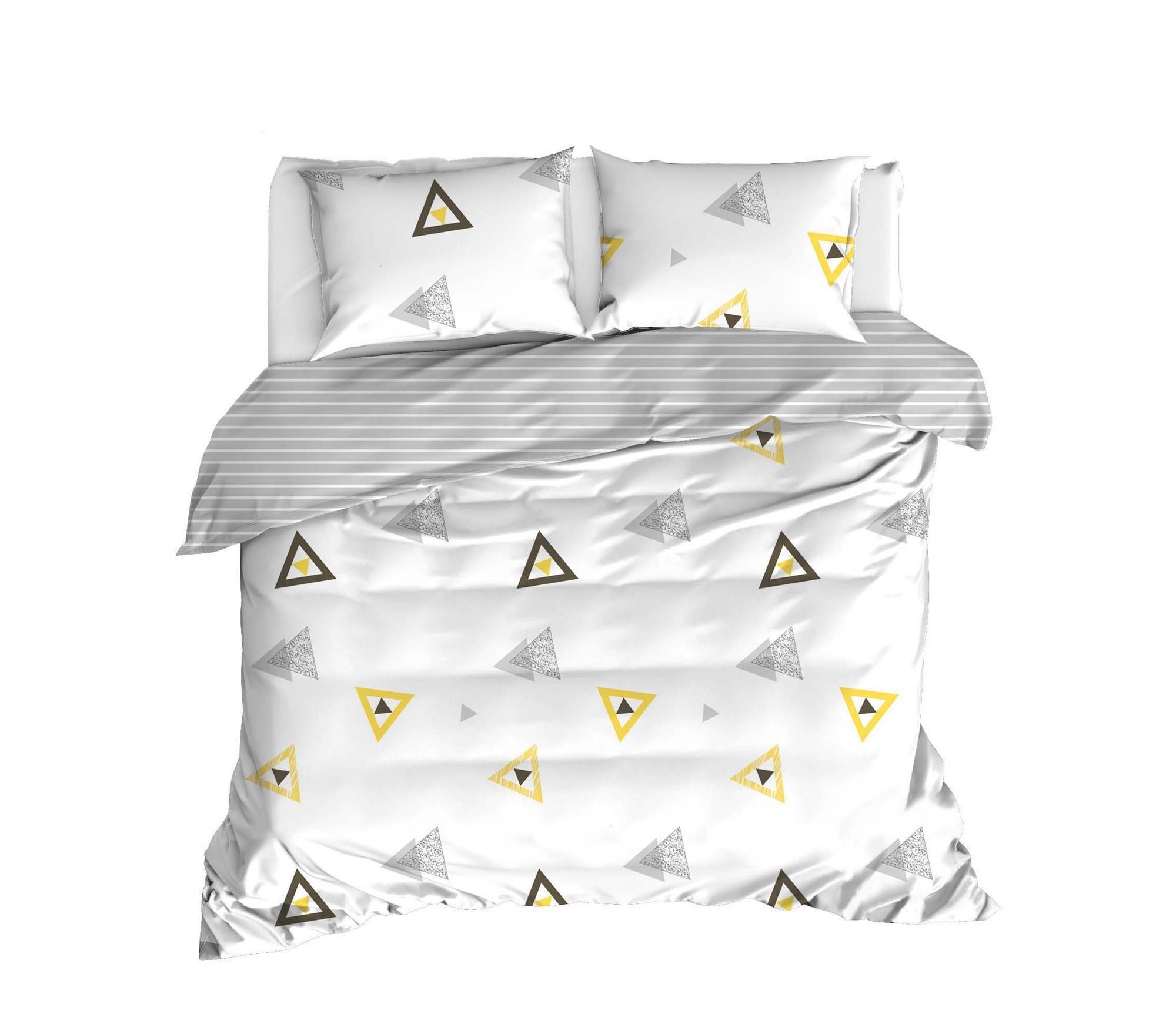 Lenjerie de pat din bumbac Ranforce Erois Alb / Gri, 200 x 220 cm imagine