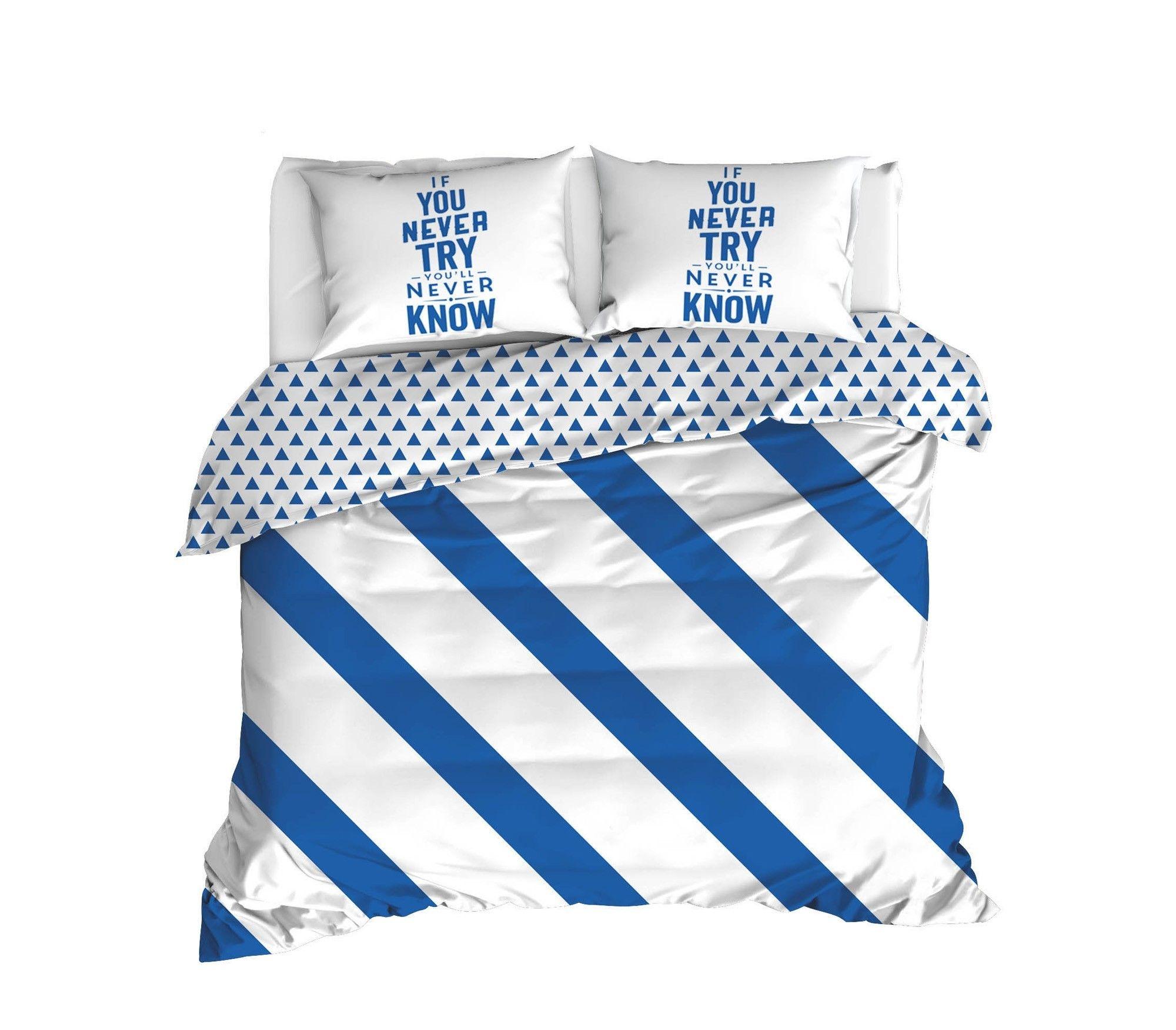 Lenjerie de pat din bumbac Ranforce, Erona Alb / Albastru, 200 x 220 cm