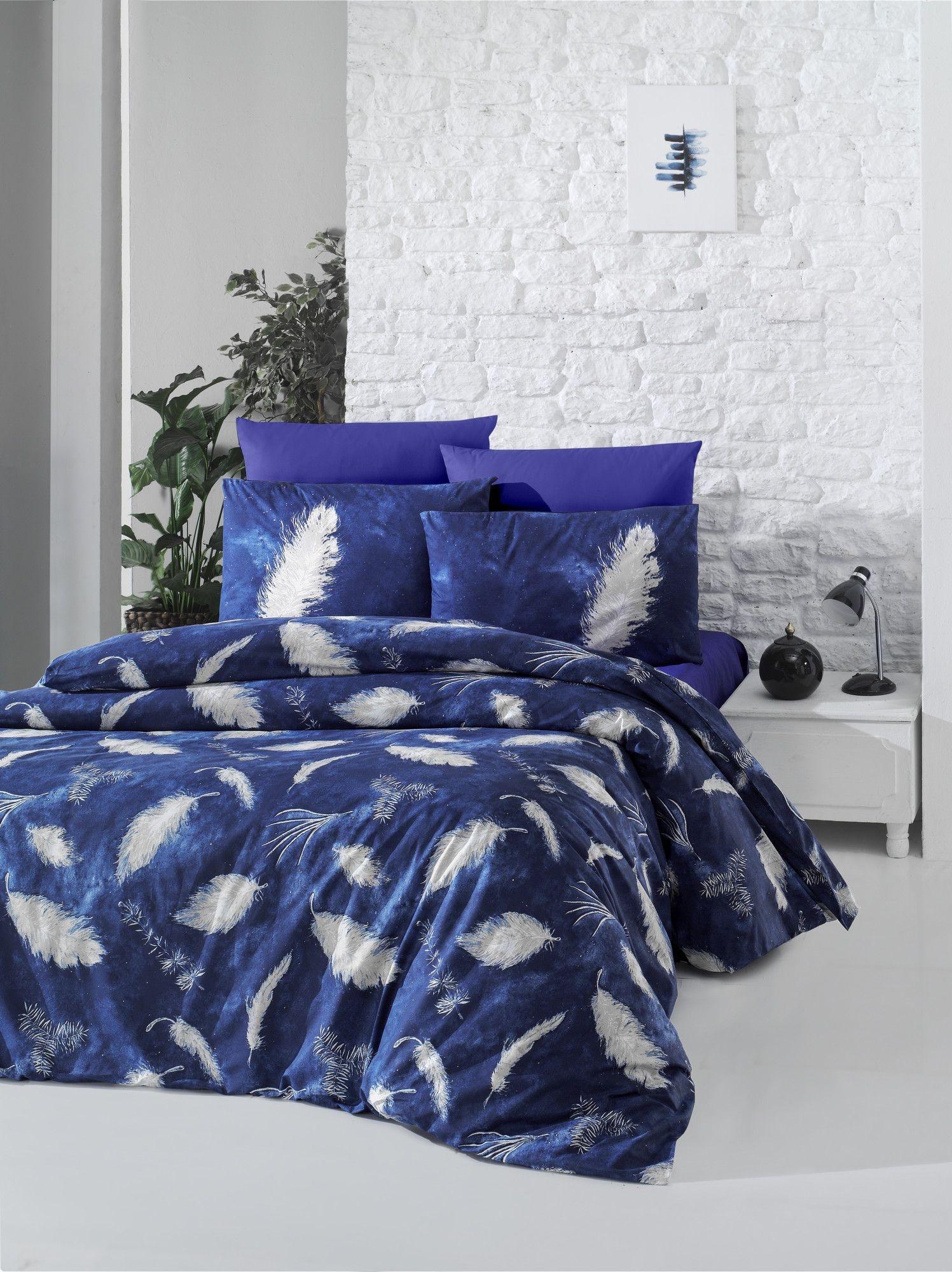 Lenjerie de pat din bumbac Ranforce, Feather Bleumarin / Alb, 200 x 220 cm imagine