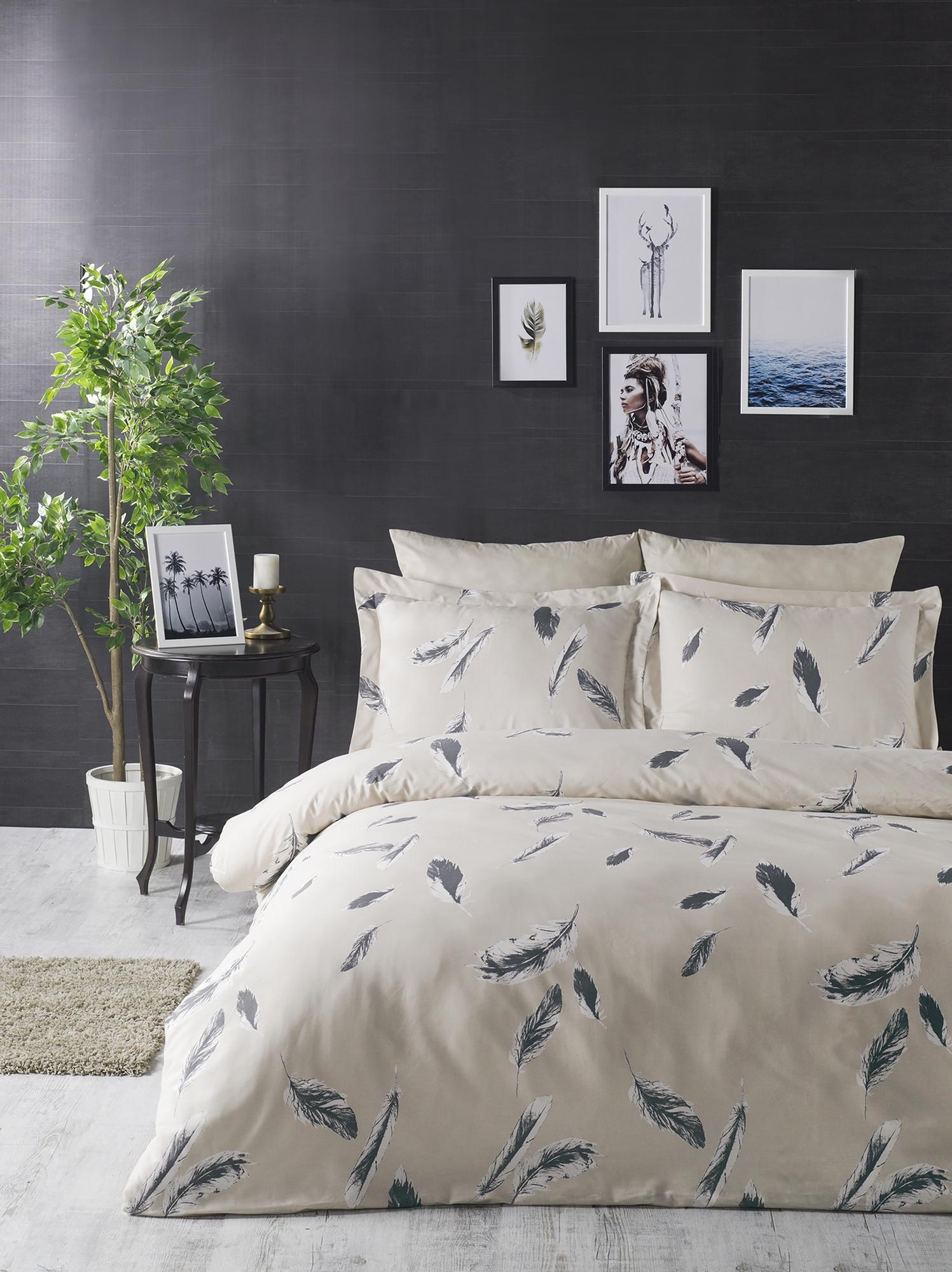 Lenjerie de pat din bumbac Ranforce, Feather Crem / Gri, 200 x 220 cm