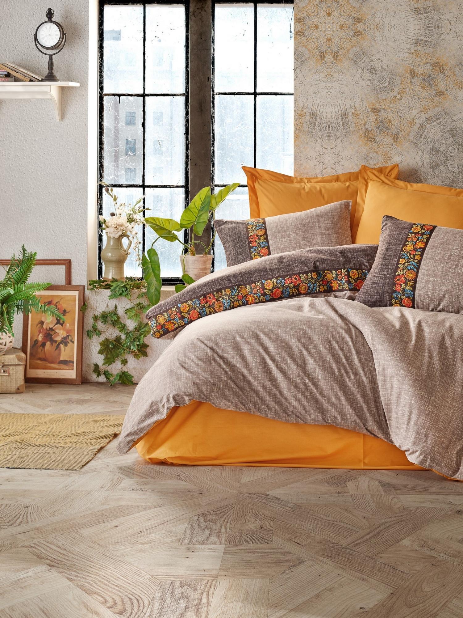 Lenjerie de pat din bumbac Ranforce, Folk Art Portocaliu / Maro , 200 x 220 cm
