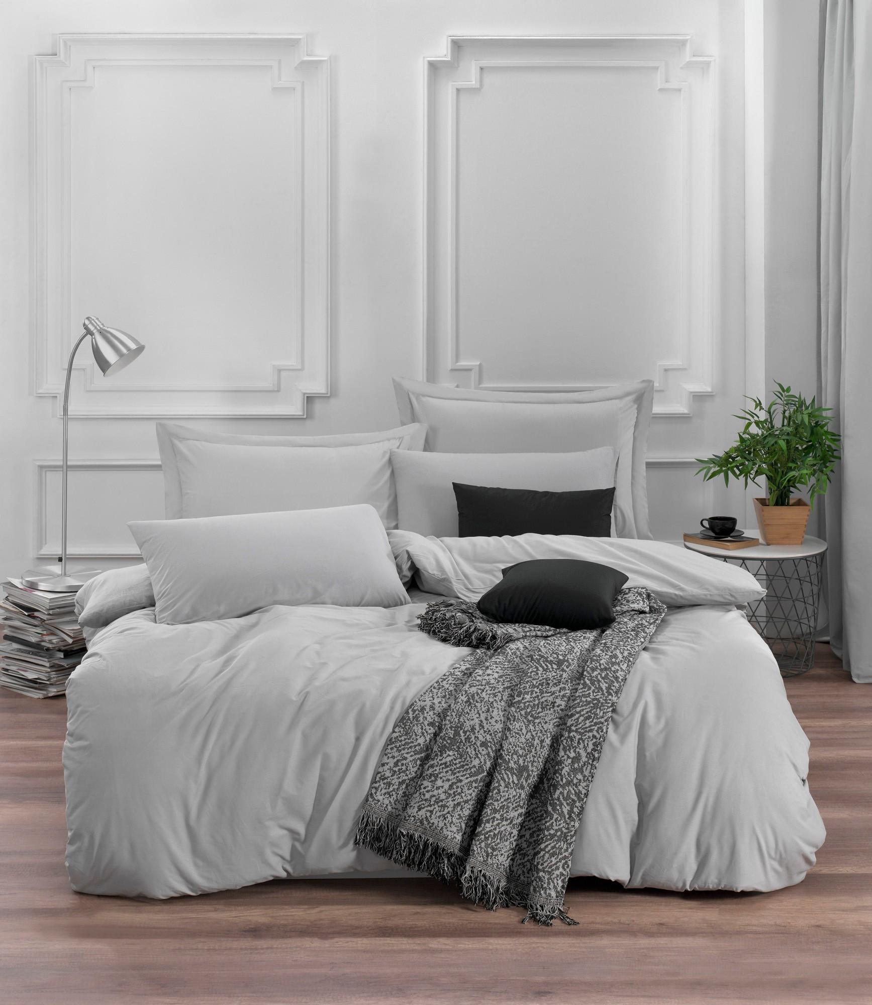 Lenjerie de pat din bumbac Ranforce Fresh Gri Deschis, 200 x 220 cm imagine