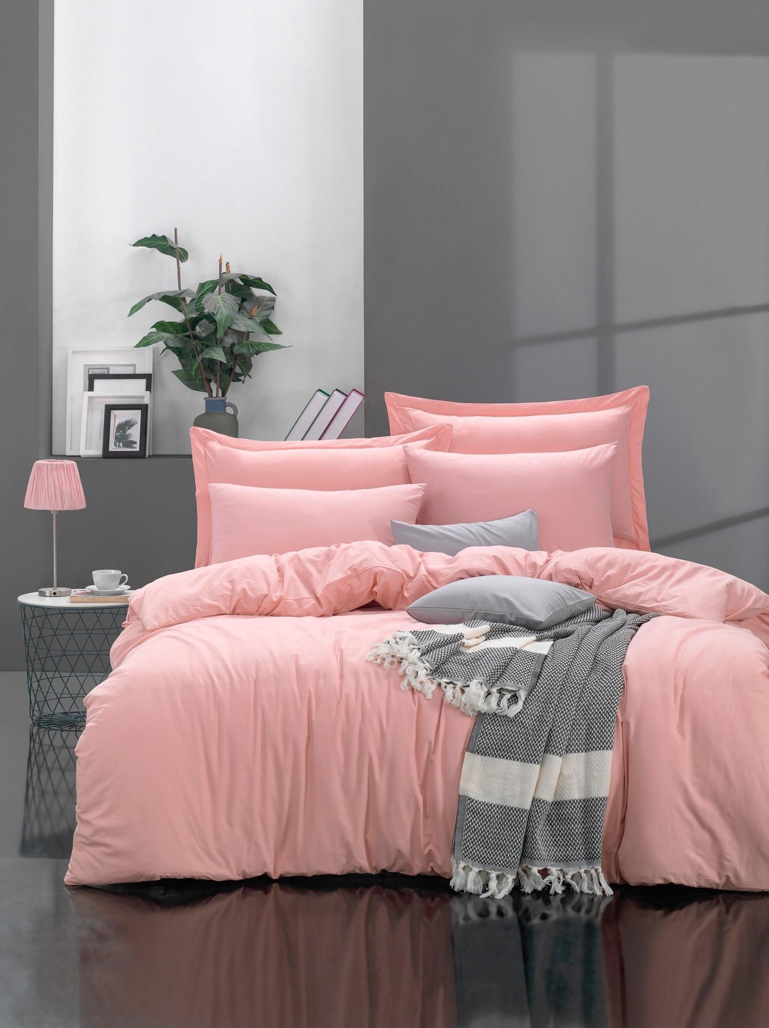 Lenjerie de pat din bumbac Ranforce Fresh Roz, 200 x 220 cm