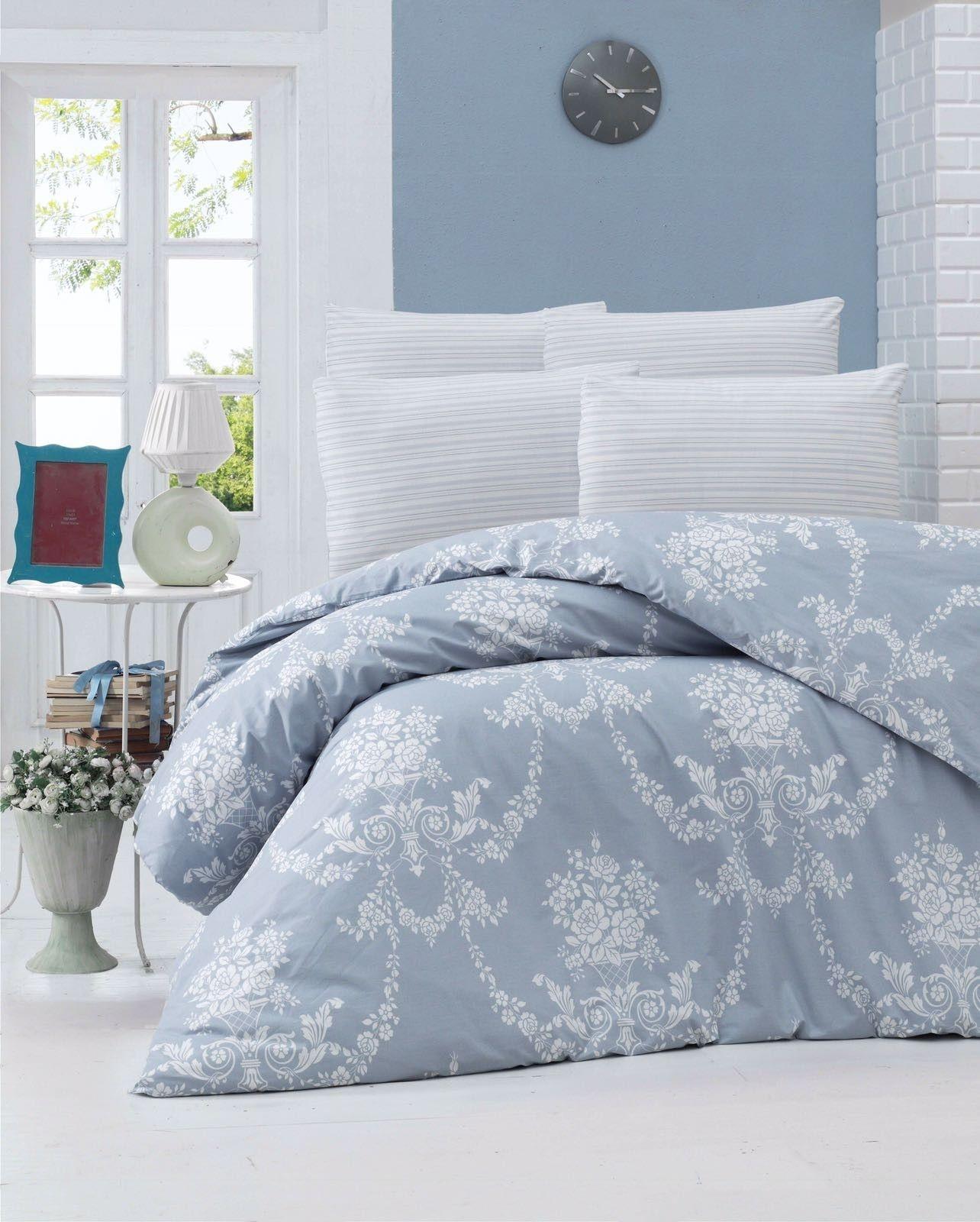 Lenjerie de pat din bumbac Ranforce, Gloria Albastru / Alb, 200 x 220 cm imagine