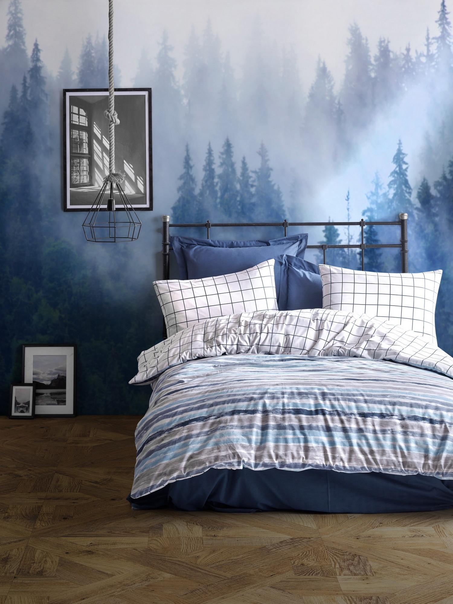 Lenjerie de pat din bumbac Ranforce, Grace Albastru / Alb, 200 x 220 cm imagine 2021