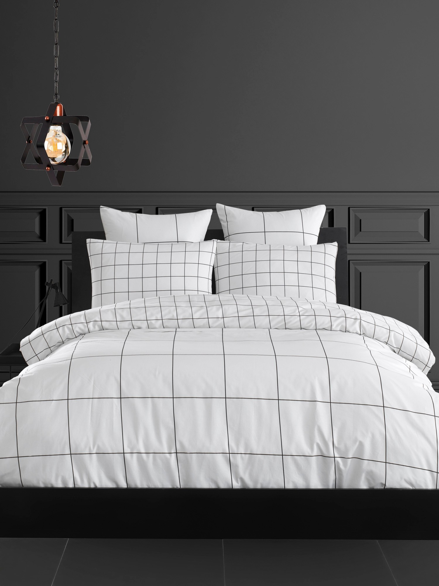 Lenjerie de pat din bumbac Ranforce Grandes Alb / Negru, 200 x 220 cm