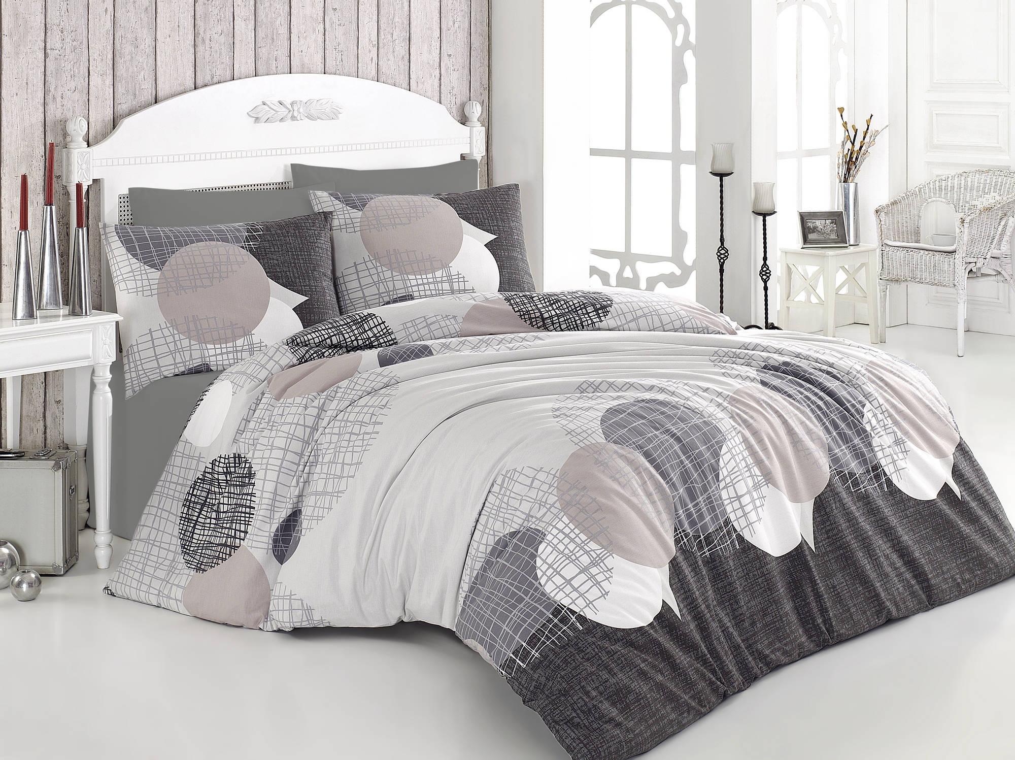 Lenjerie de pat din bumbac Ranforce, Jadore Bej / Gri, 200 x 220 cm