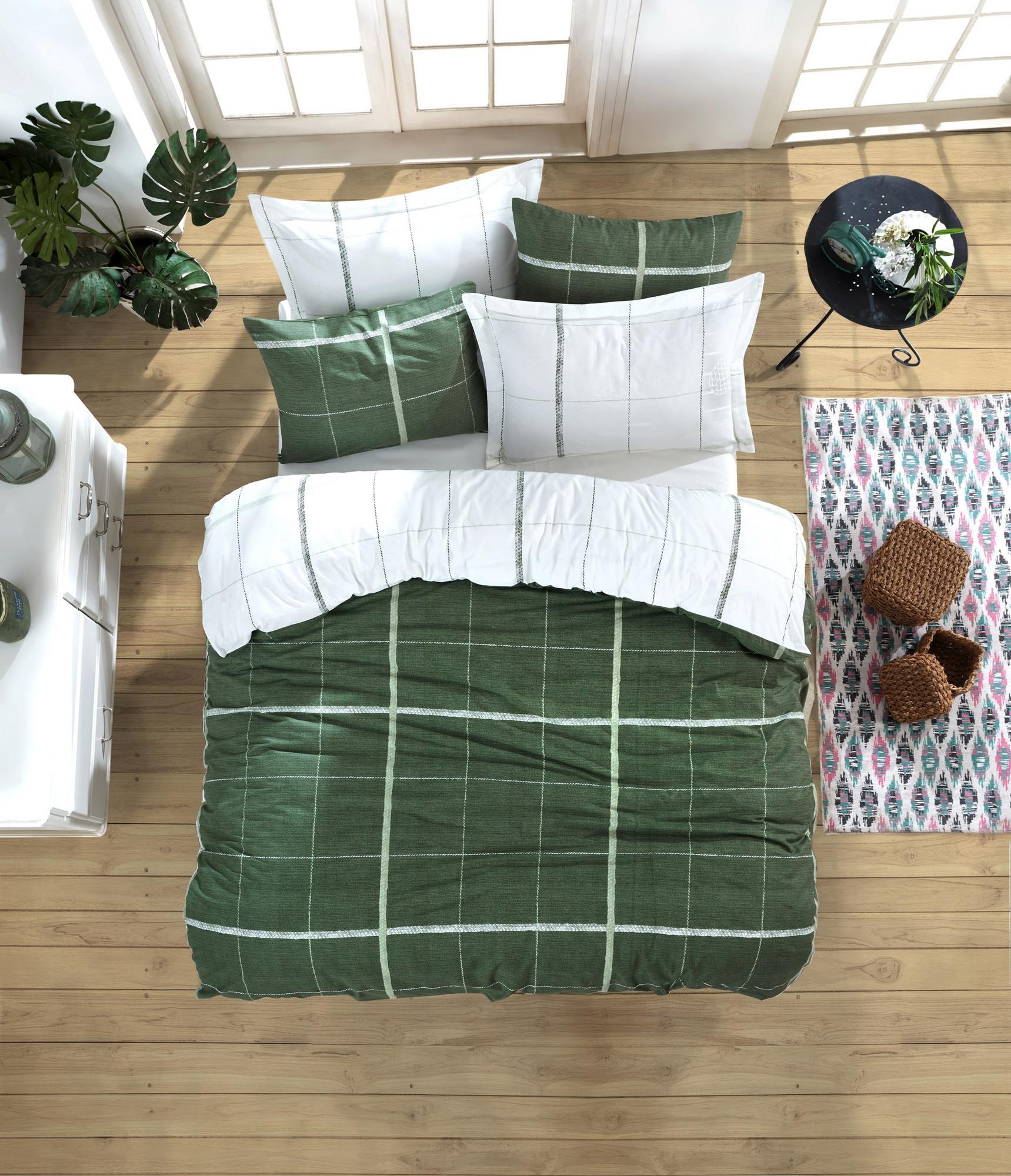Lenjerie de pat din bumbac Ranforce Maya Verde / Alb, 200 x 220 cm somproduct.ro