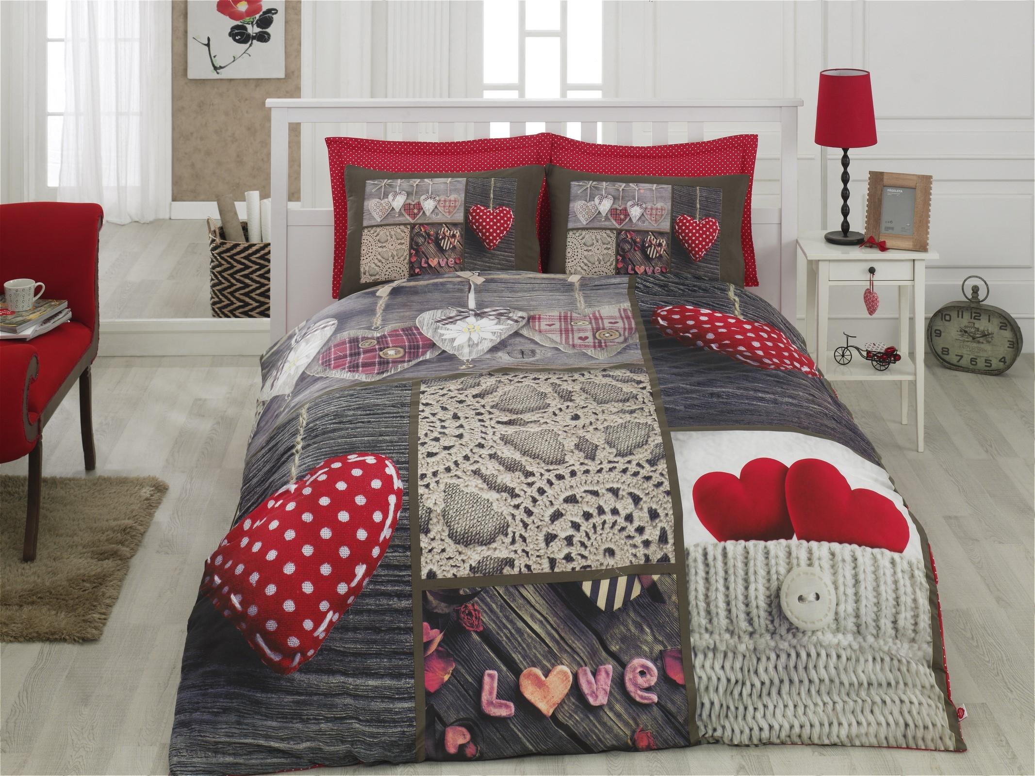 Lenjerie de pat din bumbac Ranforce, Nina Multicolor, 200 x 220 cm