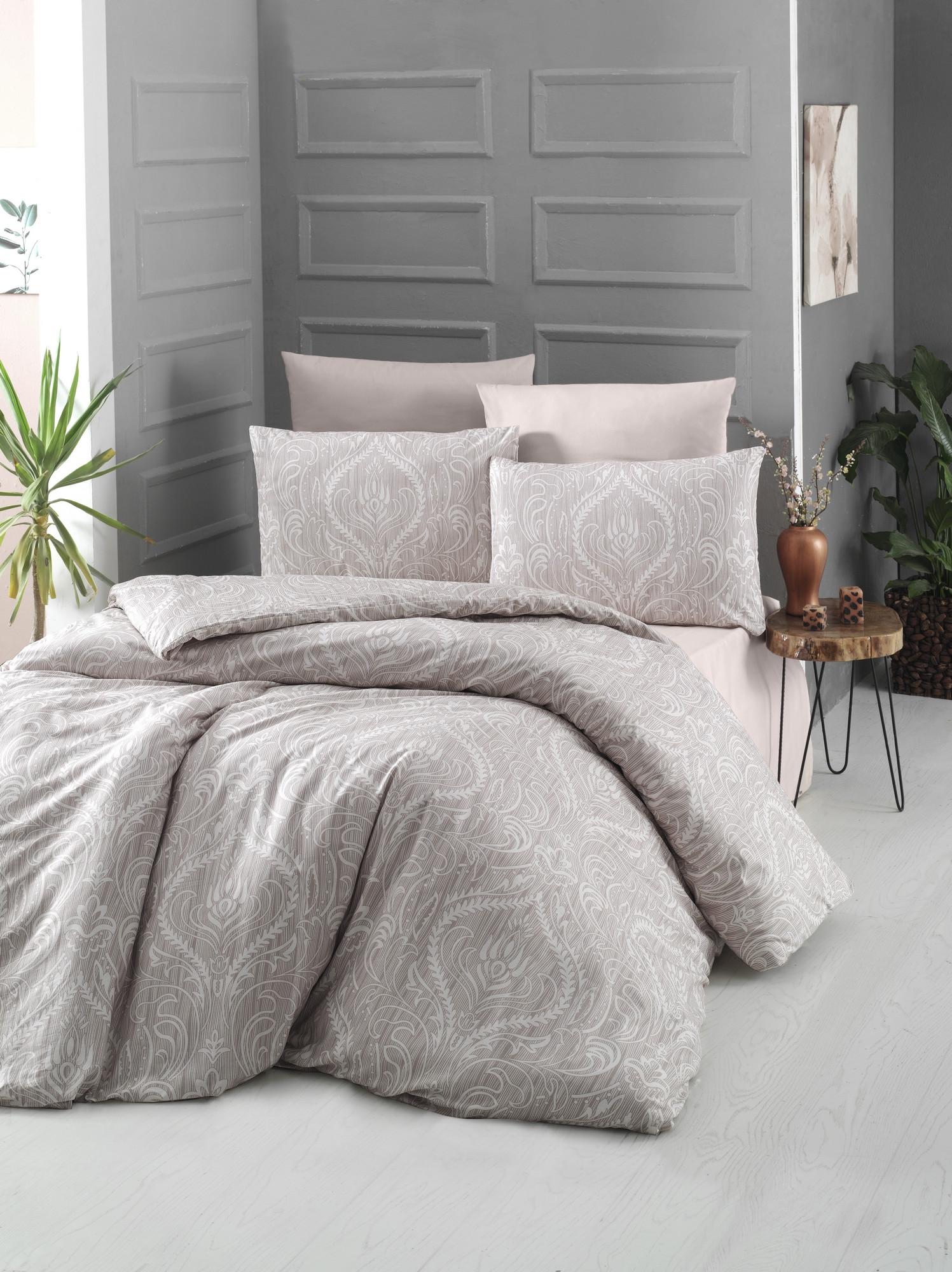 Lenjerie de pat din bumbac Ranforce, Ornament Crem, 200 x 220 cm somproduct.ro
