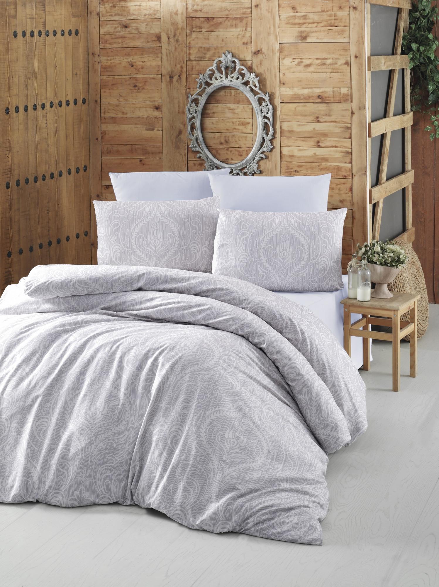 Lenjerie de pat din bumbac Ranforce, Ornament Gri, 200 x 220 cm