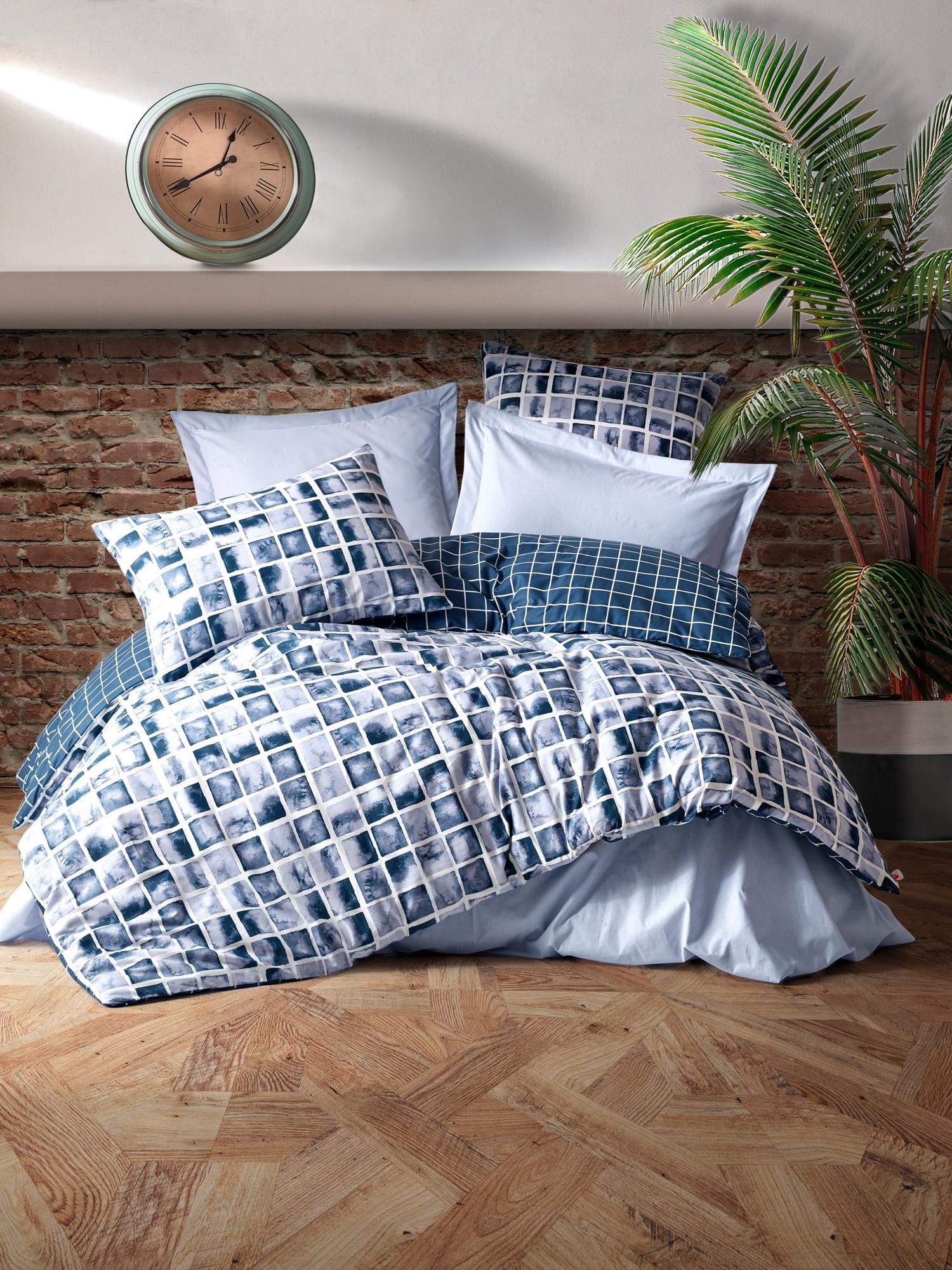 Lenjerie de pat din bumbac Ranforce, Palo Albastru / Alb, 200 x 220 cm