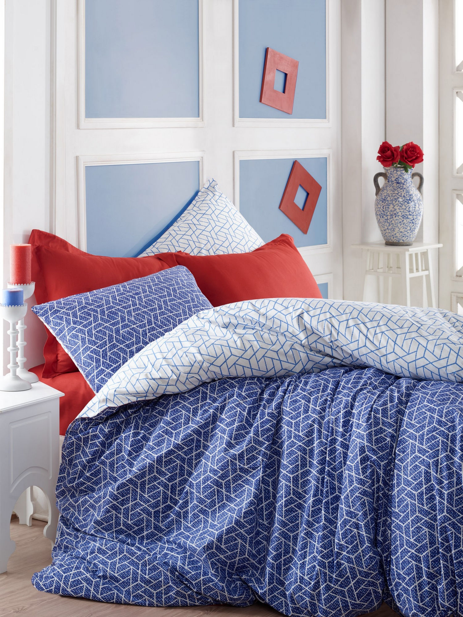Lenjerie de pat din bumbac Ranforce Pave Bleumarin / Alb, 200 x 220 cm imagine